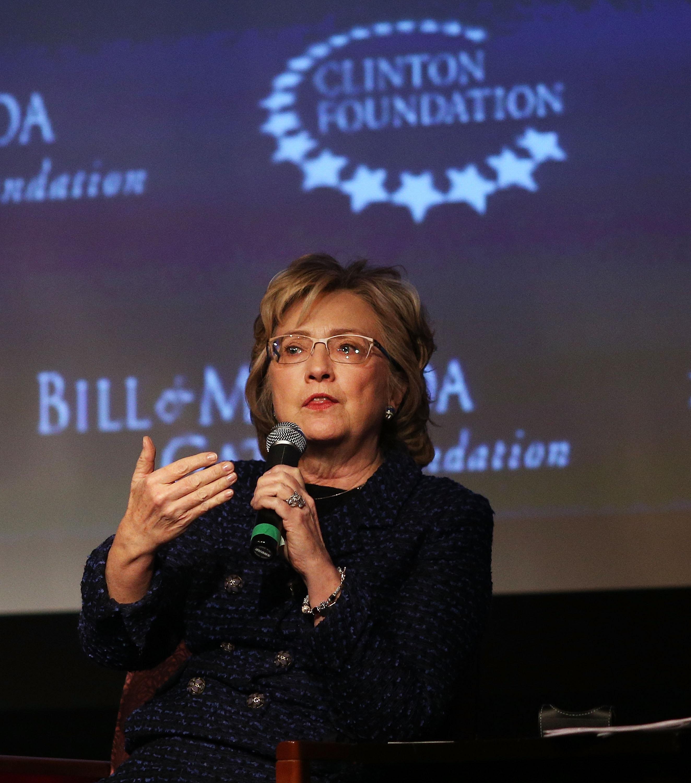 Hillary Rodham Clinton discusses global progress for women at New York University Thursday.