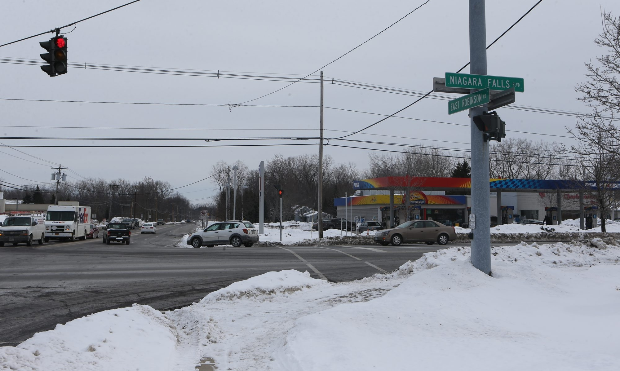 A pedestrian was struck by a car and killed while attempting to cross Niagara Falls Boulevard near the intersection of East Robinson Road in Amherst on Wednesday night.