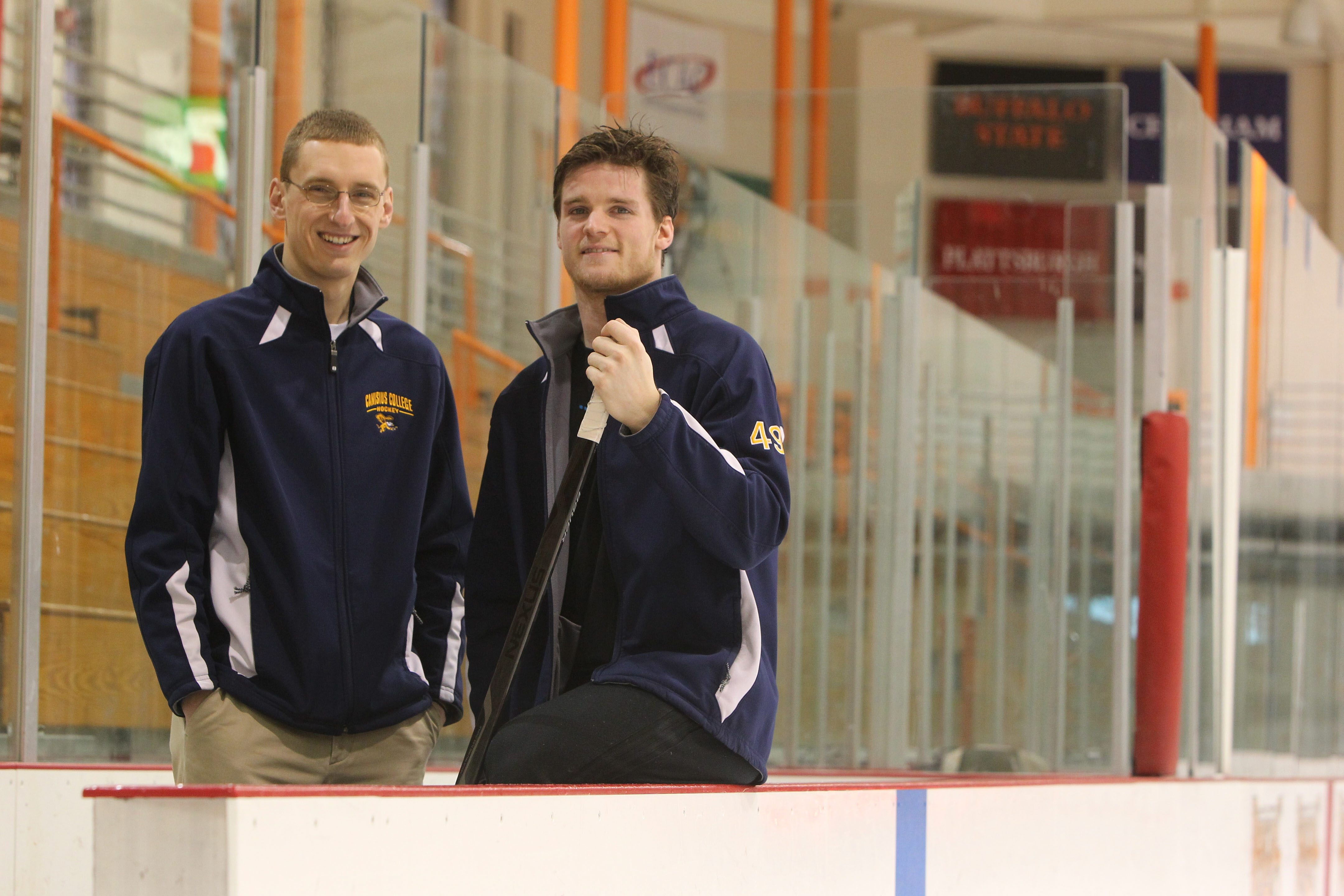 Canisius hockey announcer Nate Lull, left, signed up to be a marrow donor thanks to Griffs sophomore Chris Rumble.
