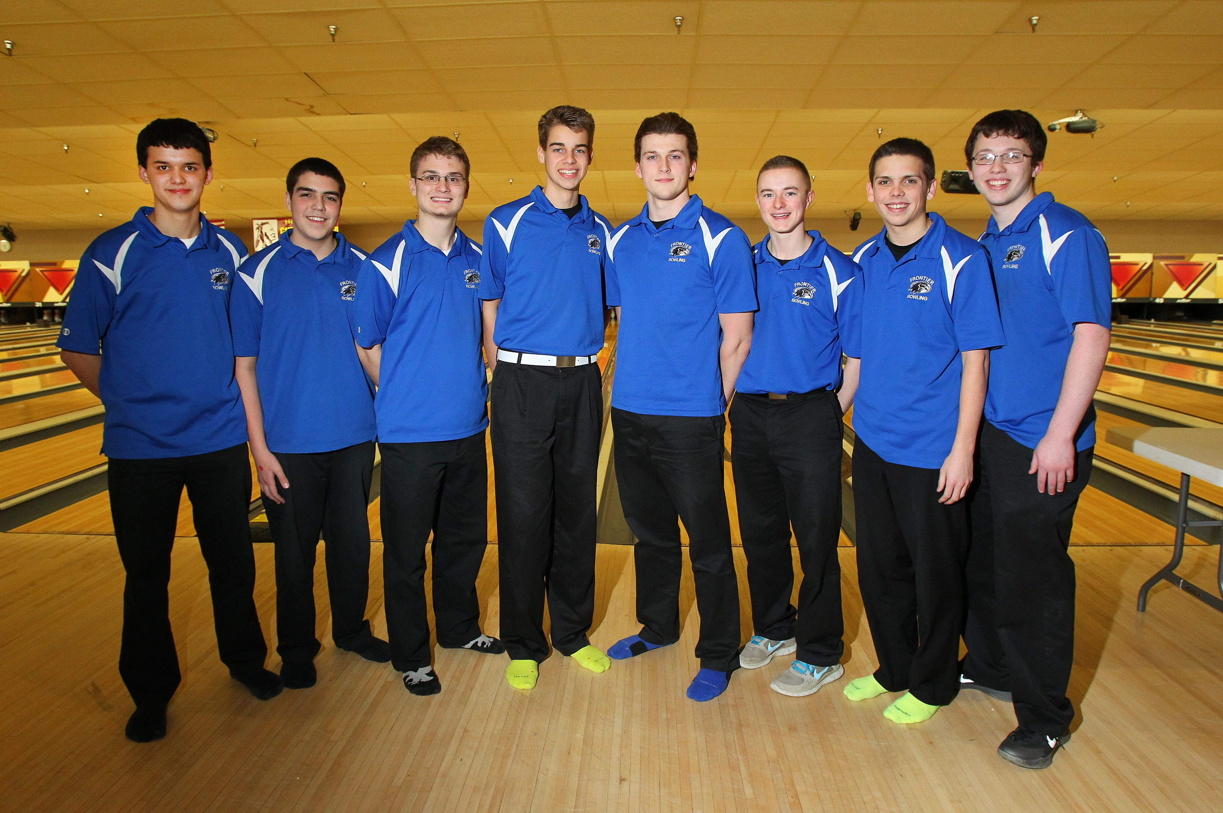 The Section VI bowling team champions from Frontier, from left, are Bryan Carson, Nick DiFlavio, Matt Kinn, Nick Brooks, Ryan Harvey, Justin Thomas, Brendan Boechel and Chad Mee.