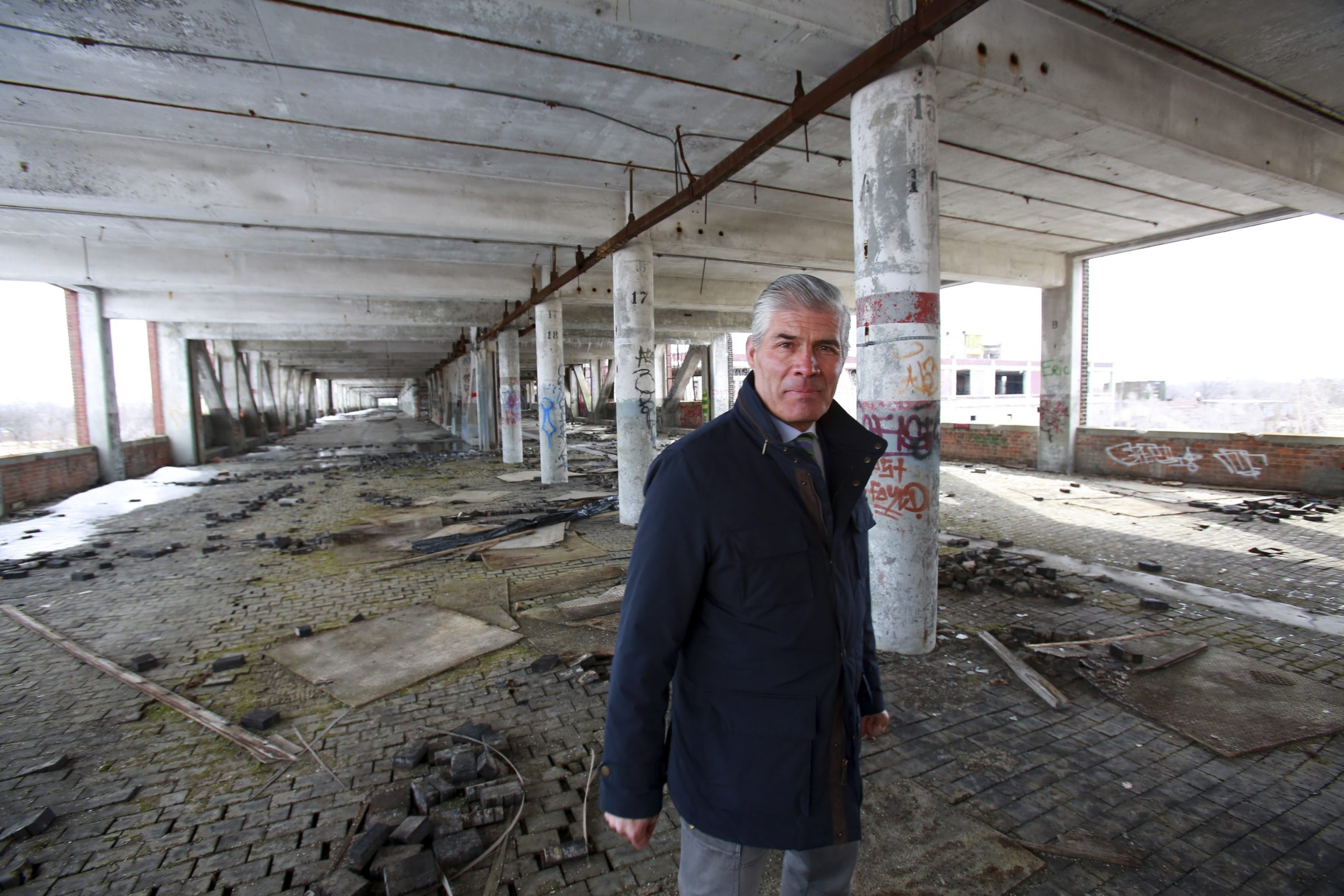 Fernando Palazuelo, a real estate developer based in Lima, Peru, tours the site he paid $405,000 for, the abandoned 40-acre Packard Motor Car plant in Detroit.