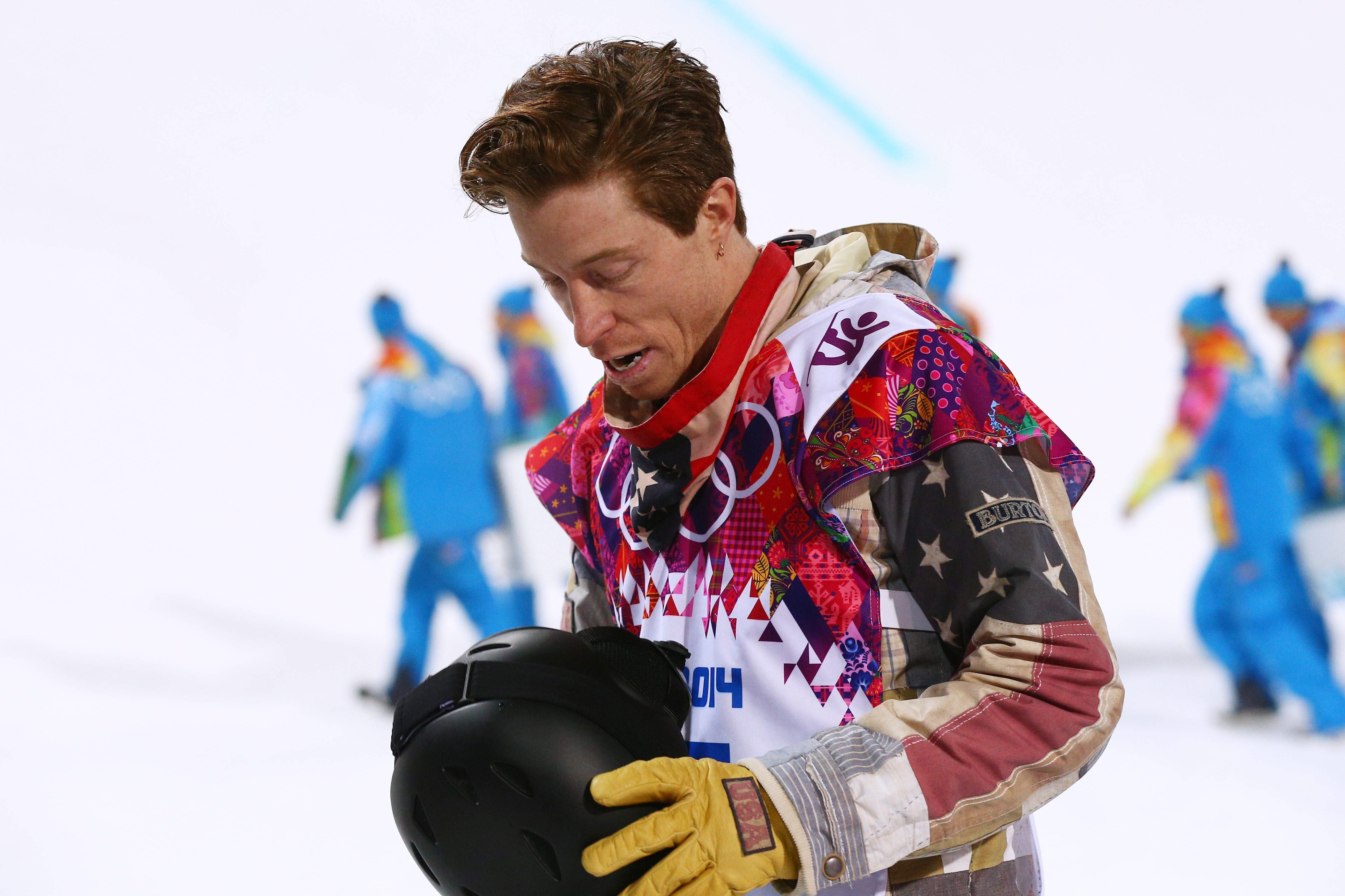 Shaun White reacts after competing in the Snowboard Men's Halfpipe Finals on Tuesday in Sochi, Russia.