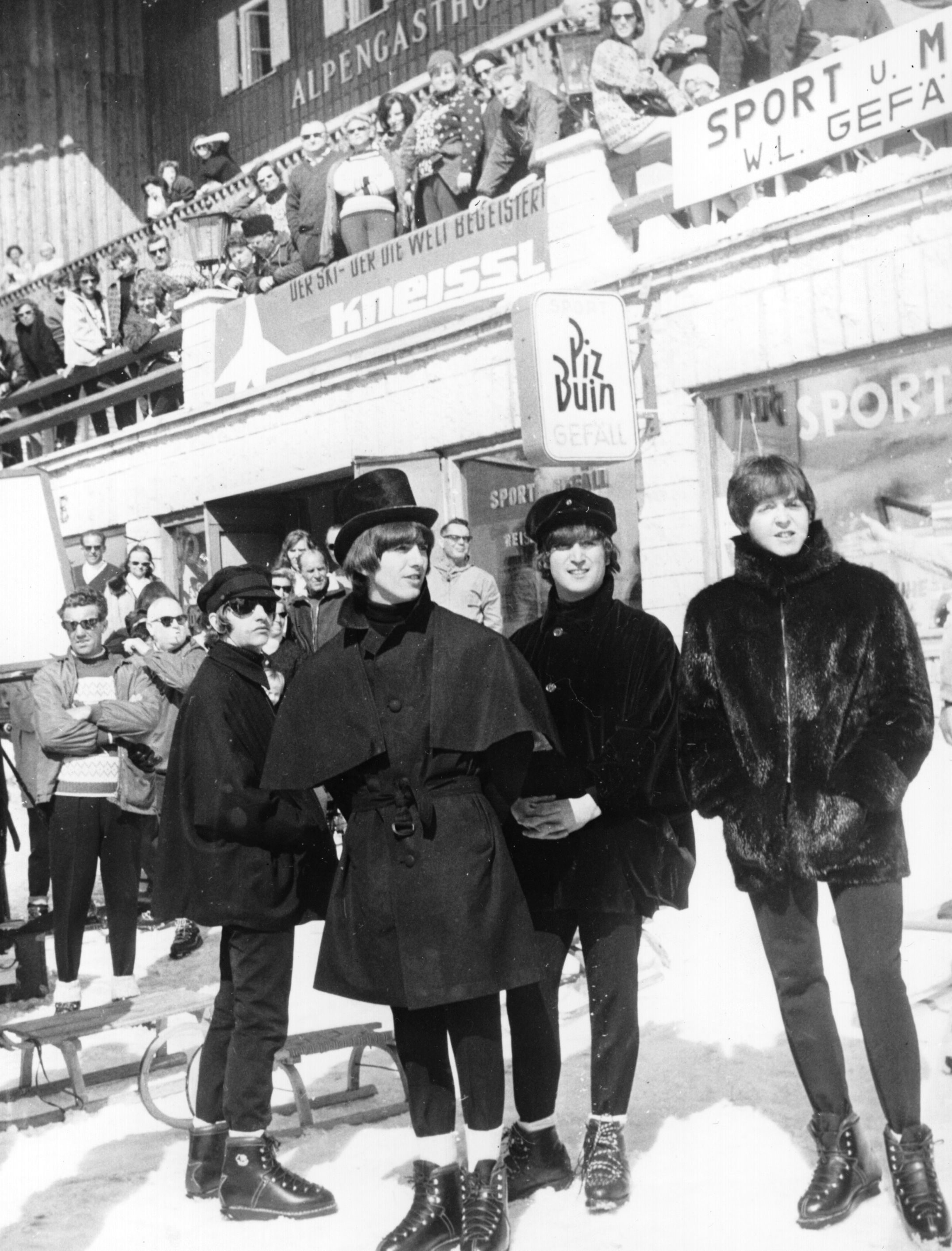 """The Beatles are seen in costume and on location for the filming of """"Help"""" on March 17, 1965."""