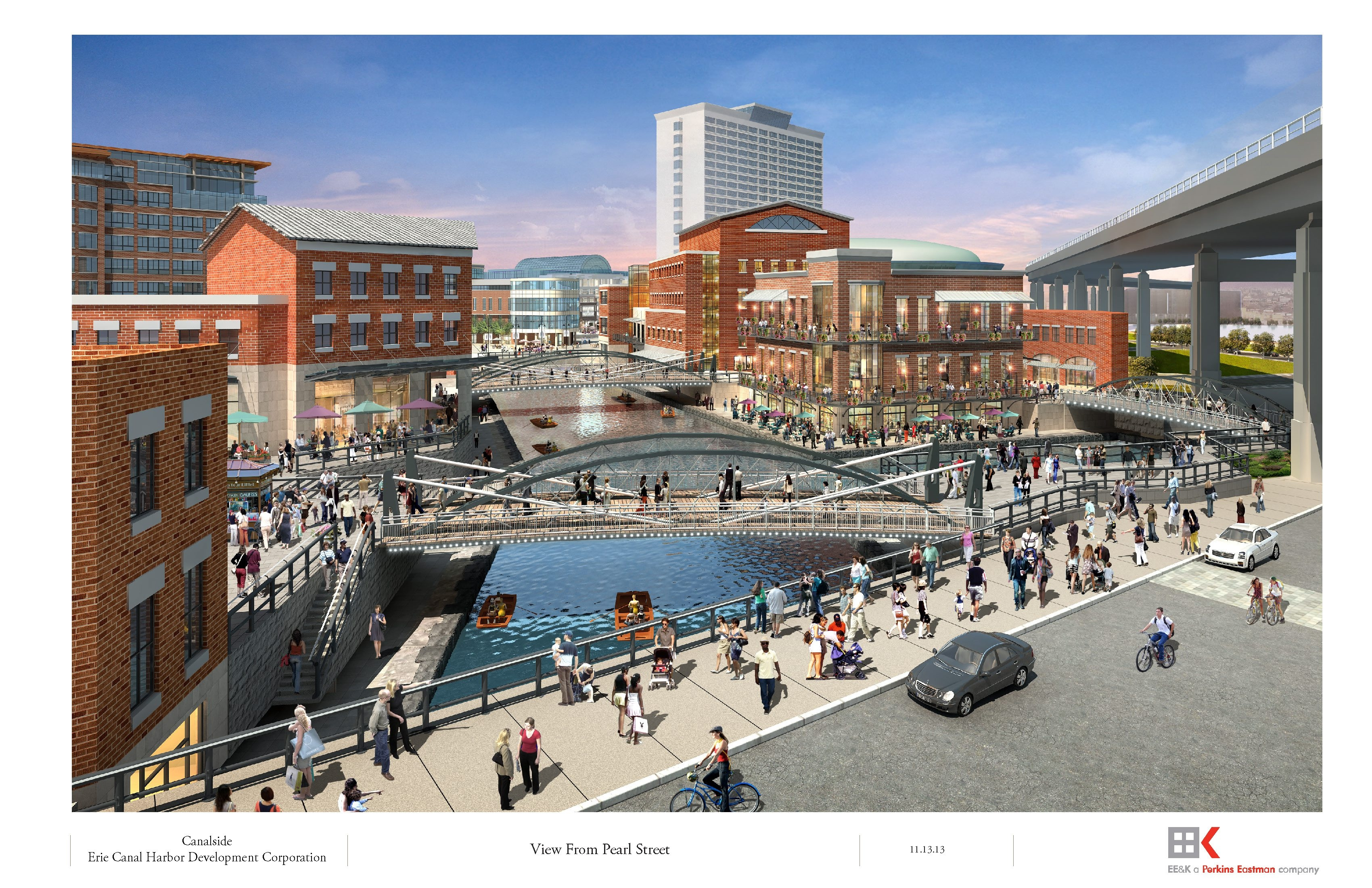 Canalside rendering centers on Erie Barge Canal replica plus restaurant, children's museum and mixed-use site.