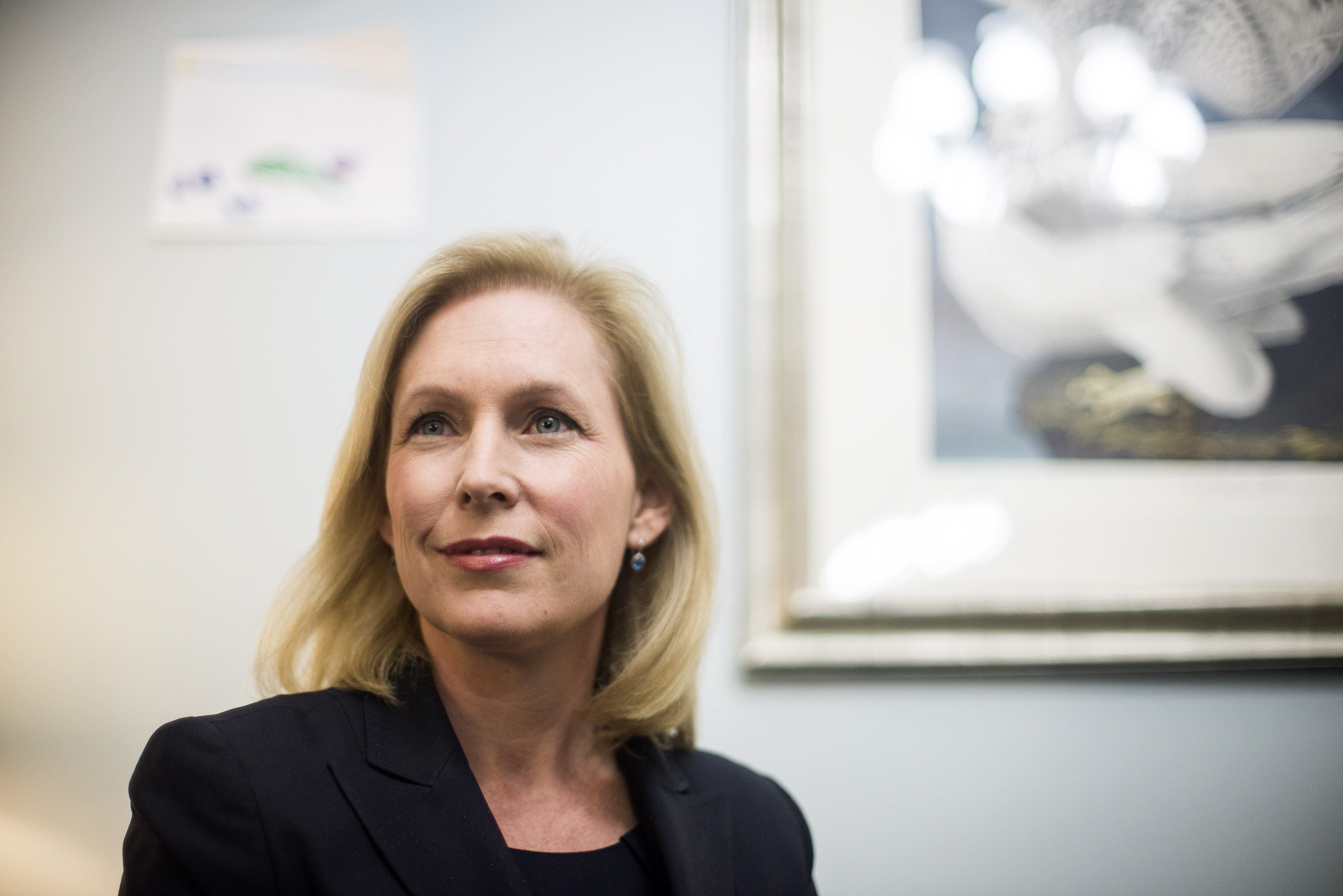 Sen. Kirsten Gillibrand (D-N.Y.) is seen in her office on Capitol Hill in Washington, D.C., in early December.