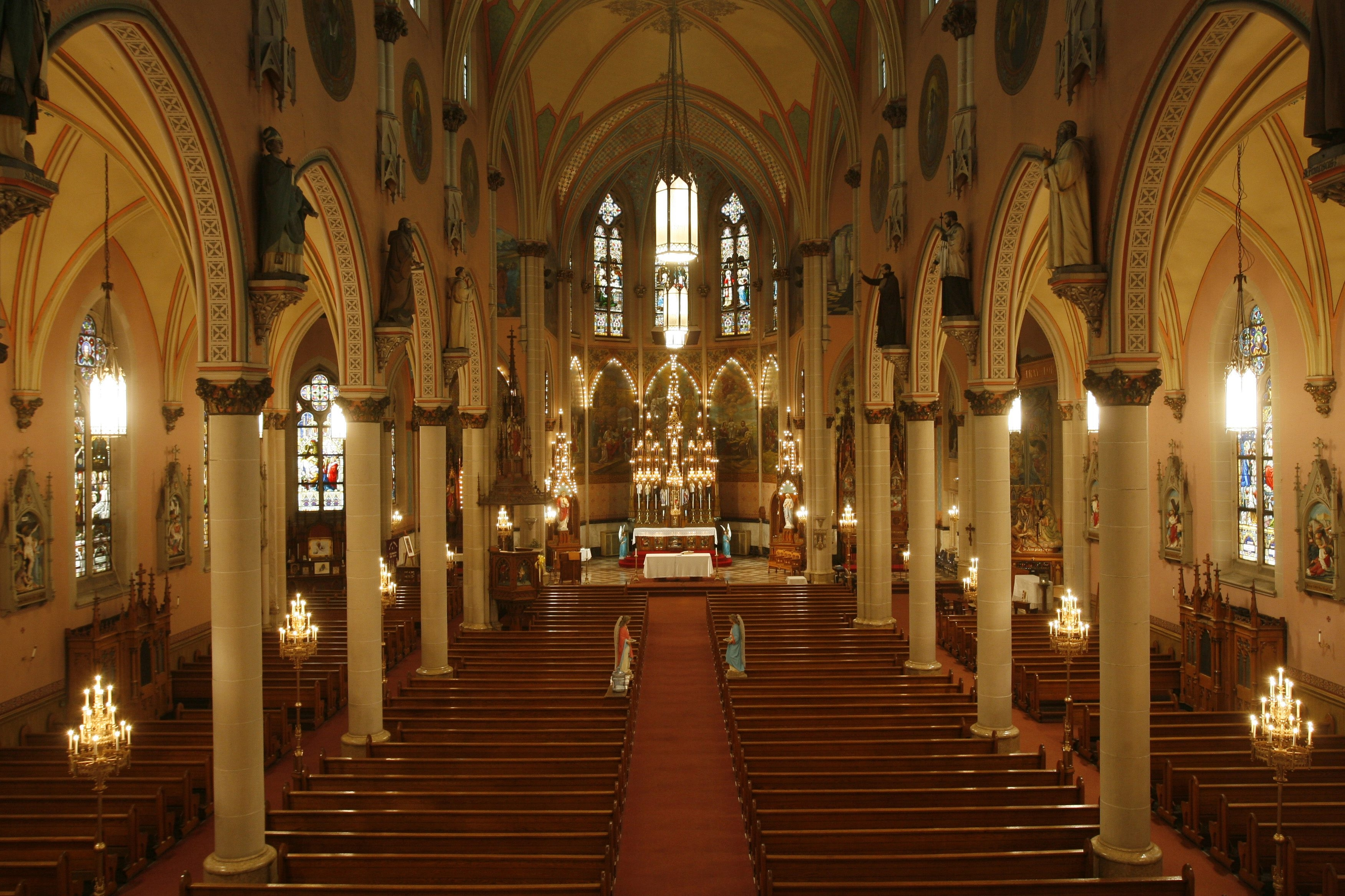 Much of the architectural value of St. Ann Church is in the interior ecclesiastical artwork and details, as seen here from the choir loft.