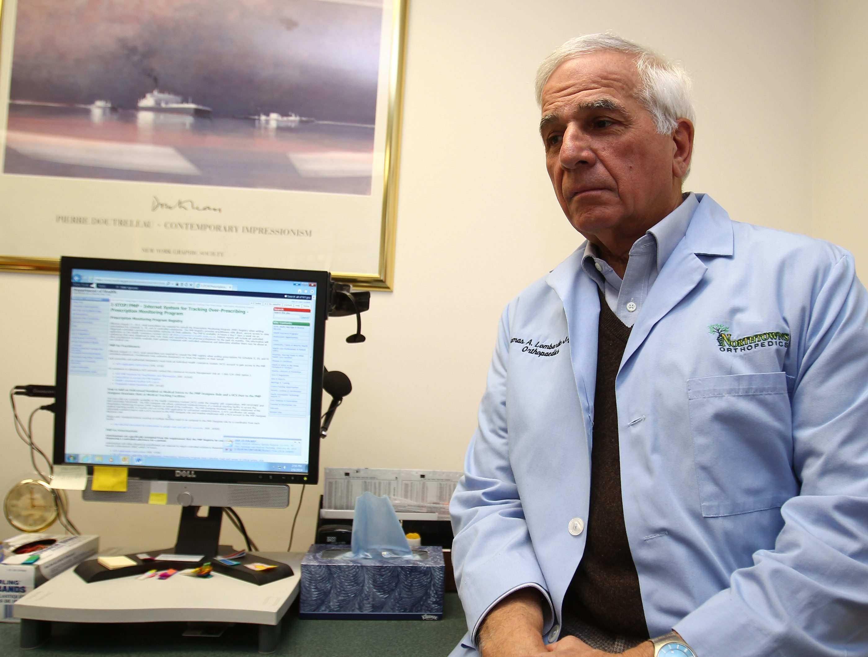 Dr. Thomas A. Lombardo Jr. initially had doubts about the I-STOP law that lists patients' real-time drug prescriptions, but has changed his mind after seeing its effectiveness in his practice.