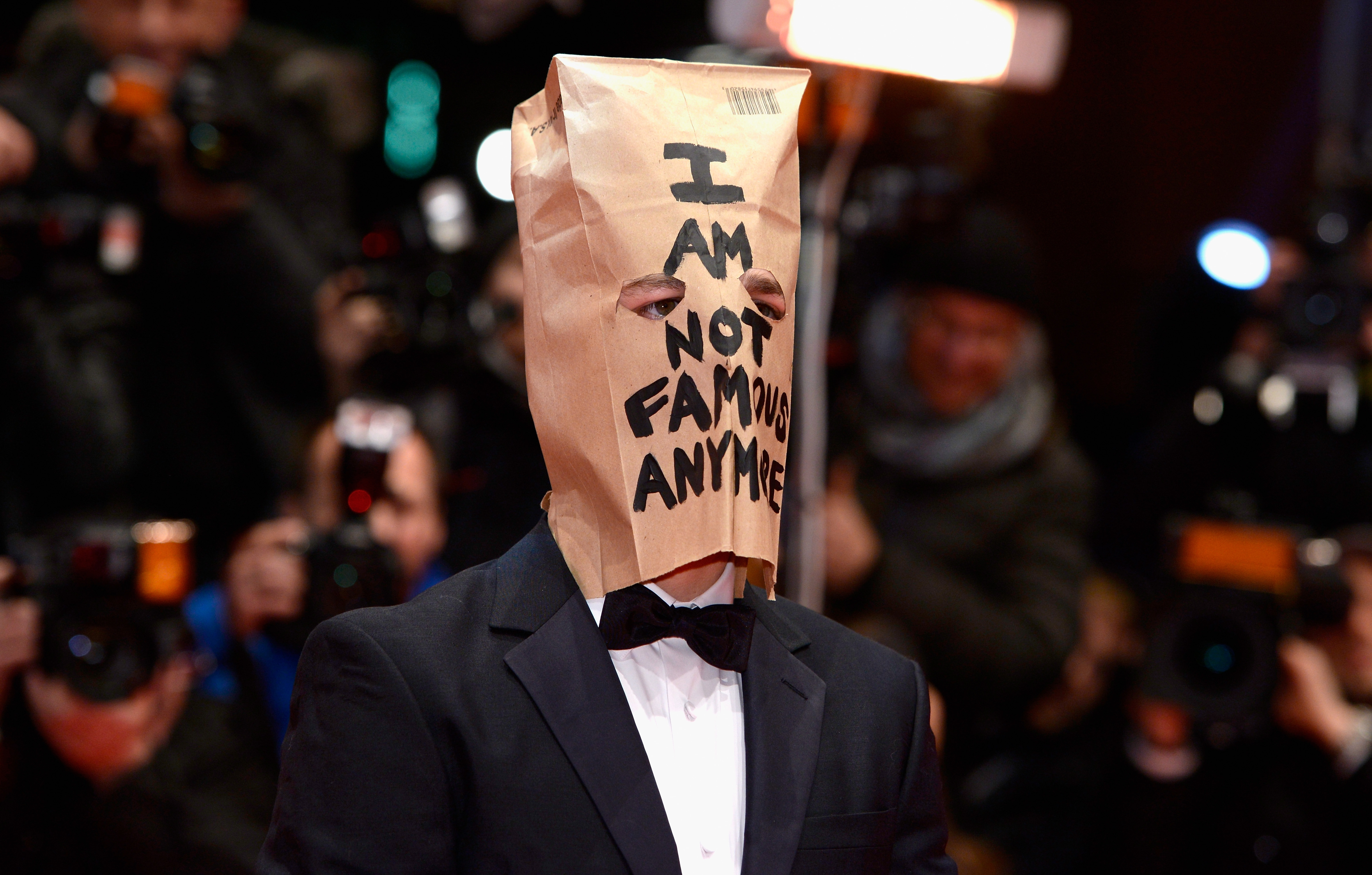 "Shia LaBeouf was in Berlin with a bag over his head Sunday for the ""Nymphomaniac Volume I"" premiere during at the 64th Berlin Film Festival."