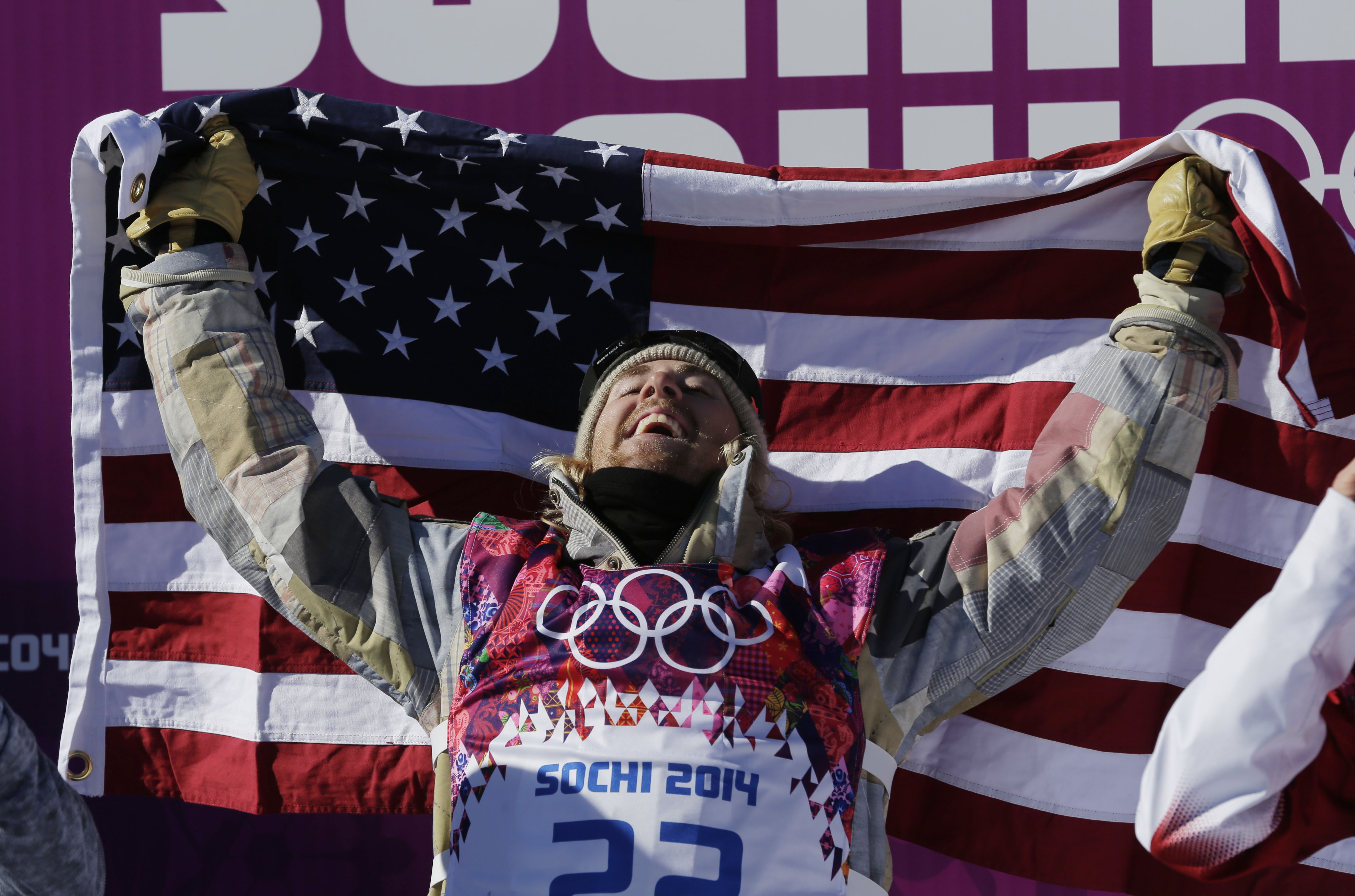 U.S. snowboarder Sage Kotsenburg celebrates Saturday after winning the men's slopestyle final in Krasnaya Polyana, Russia, becoming the first gold medalist of the Games.