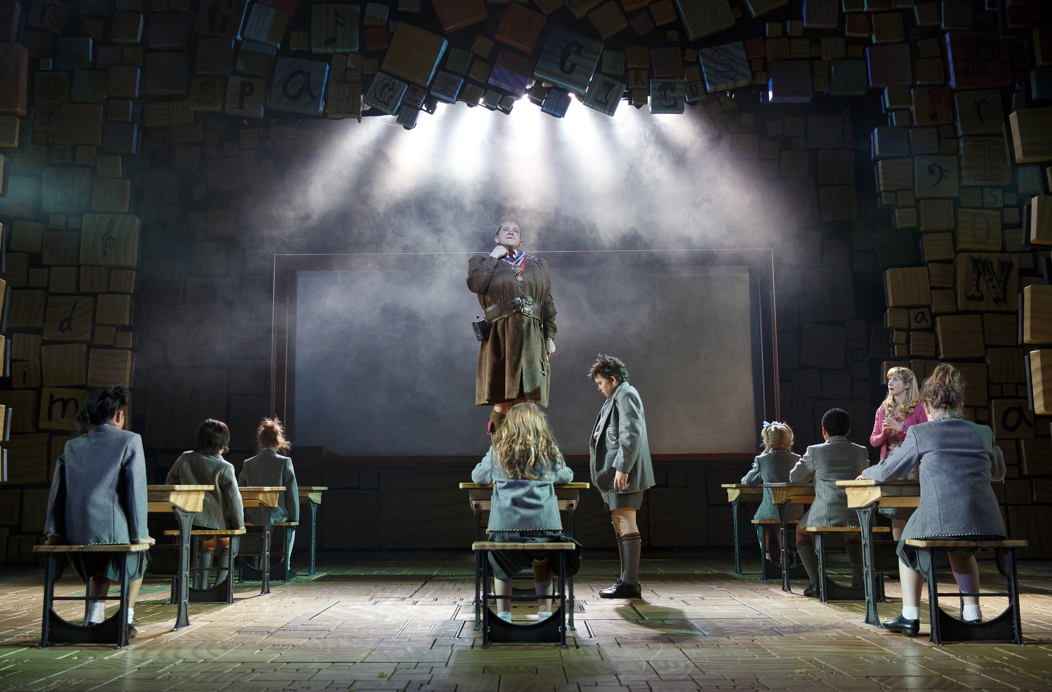 """""""Matilda the Musical,"""" with Bertie Carvel, above, as the evil headmistress, is going on national tour."""