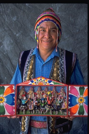 Jeronimo E. Lozano carries on the ancient Peruvian tradition of hand-crafted retablos, originally portable altar boxes carried by travelers for protection, and incorporates his experiences in Mormon Utah and the West. Courtesy National Endowment for the Arts.