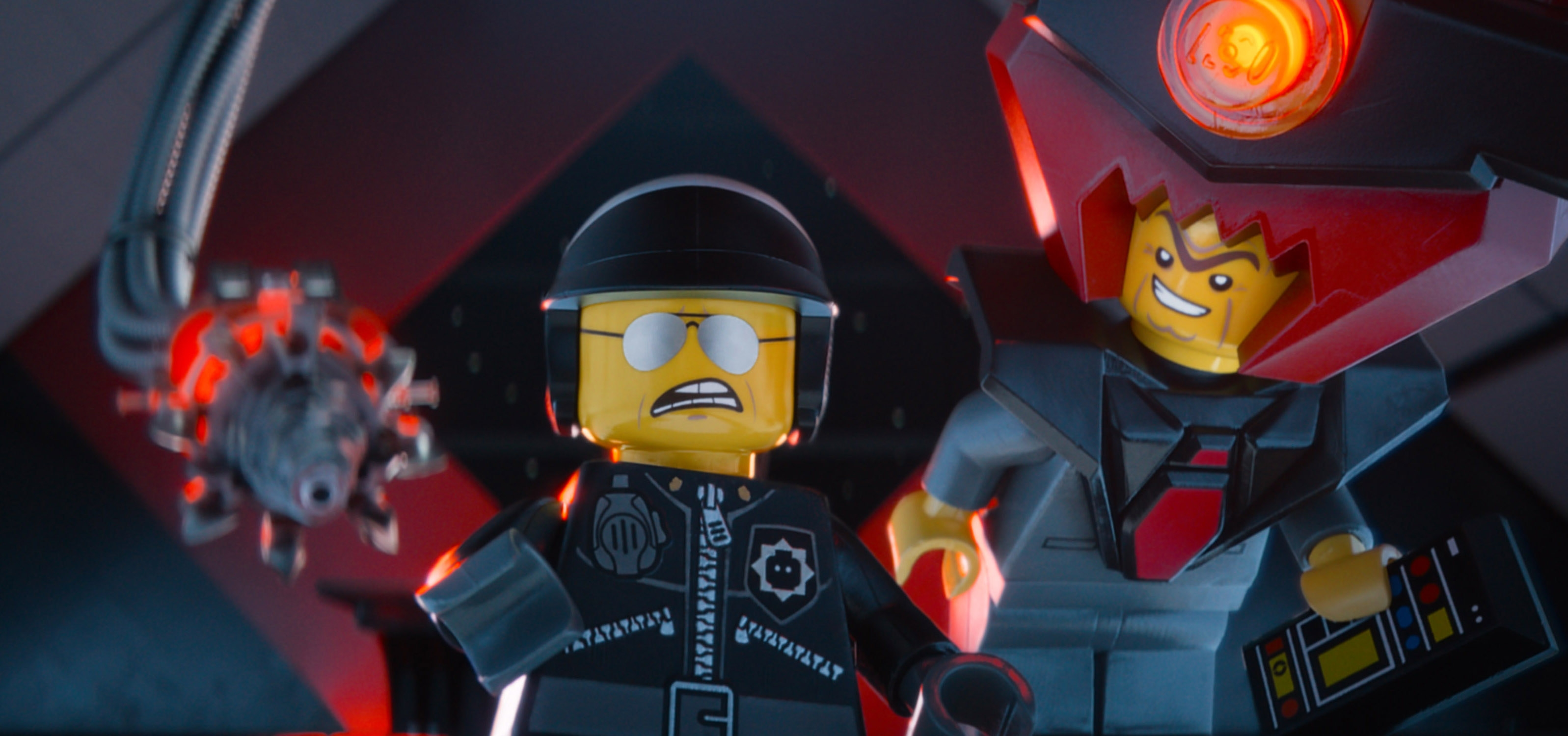 """Bad Cop/Good Cop, voiced by Liam Neeson, left, and President Business, voiced by Will Ferrell, in a scene from """"The Lego Movie."""""""