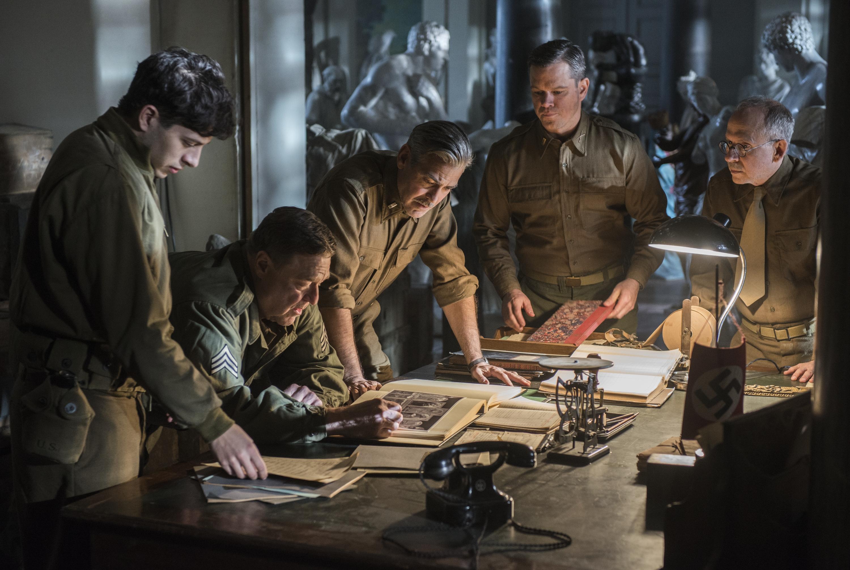 "From left, Dimitri Leonidas, John Goodman, George Clooney, Matt Damon and Bob Balaban in ""The Monuments Men."""