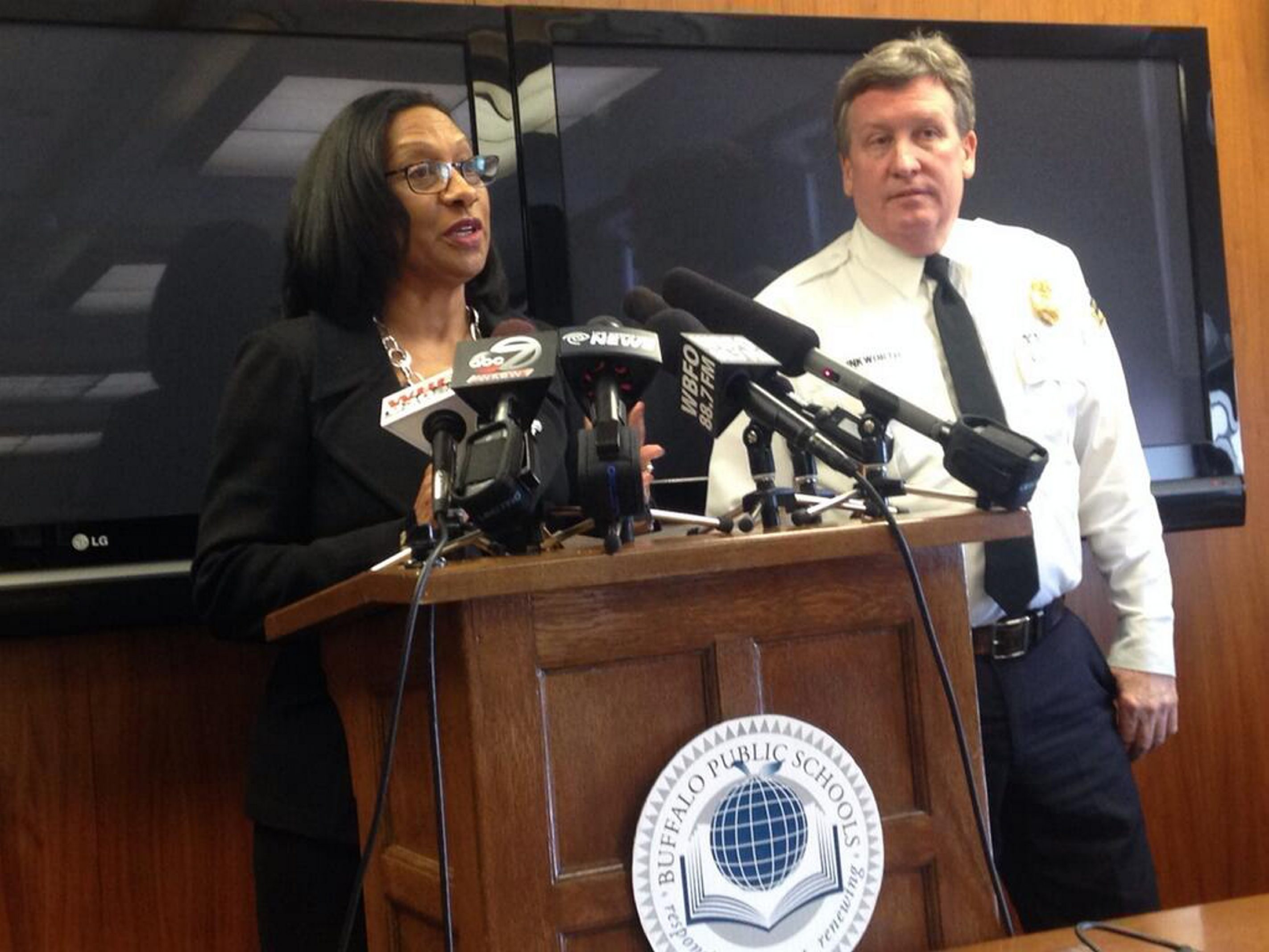 """We hope parents can appreciate that our first focus is on their children's safety. We contacted them at the very first opportunity,"" said Buffalo Schools Superintendent Pamela C. Brown, standing next to Kevin Brinkworth, chief of police, school safety and security during a news conference."