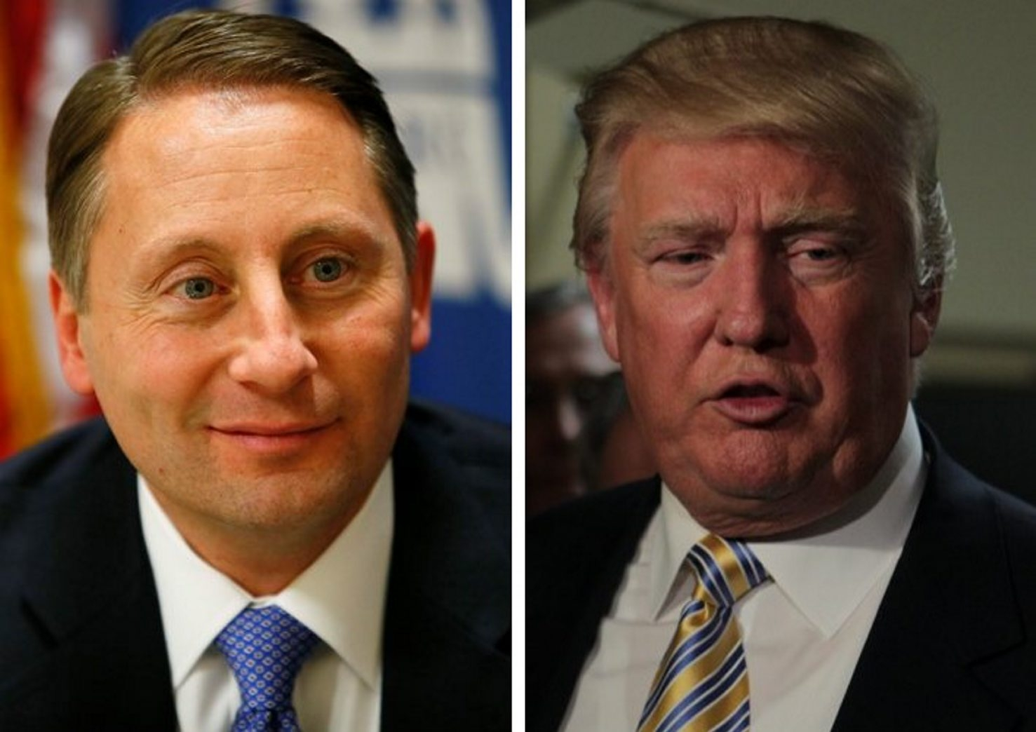 "Westchester County Executive Rob Astorino, left, has filed an ""Astorino for Governor Committee"" with state board of elections. That is not a formal declaration of candidacy. Donald Trump, right, who has signaled his interest in challenging Gov. Cuomo has said he would step aside if Astorino announces he is running."