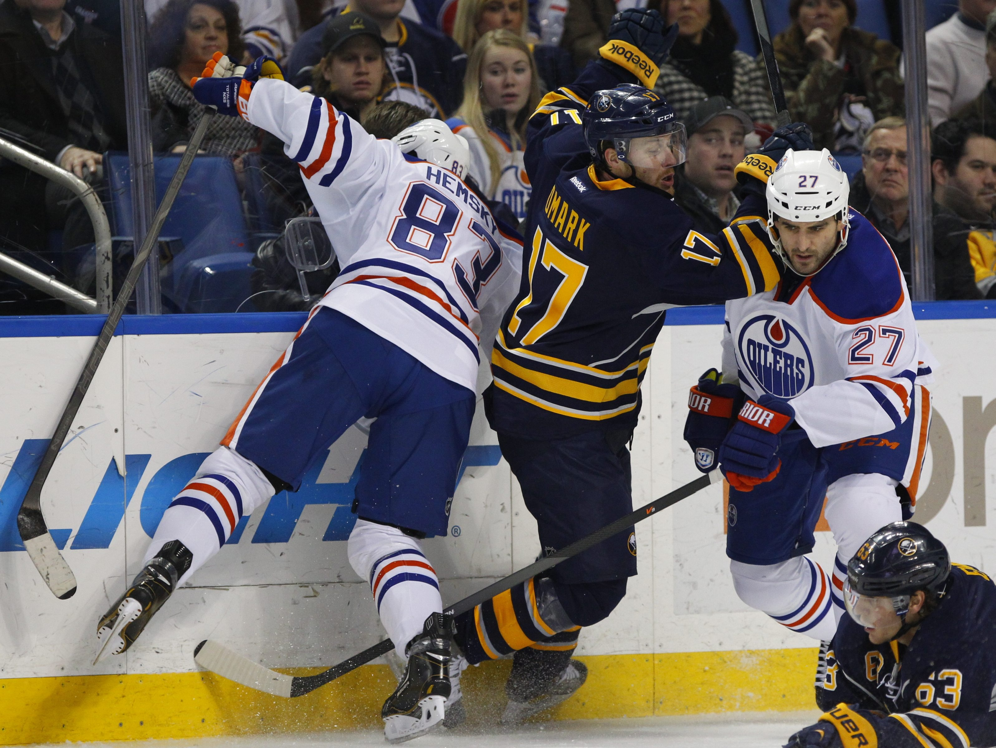 The Sabres' Linus Omark(17) faced his former team in the Edmonton Oilers on Monday night.