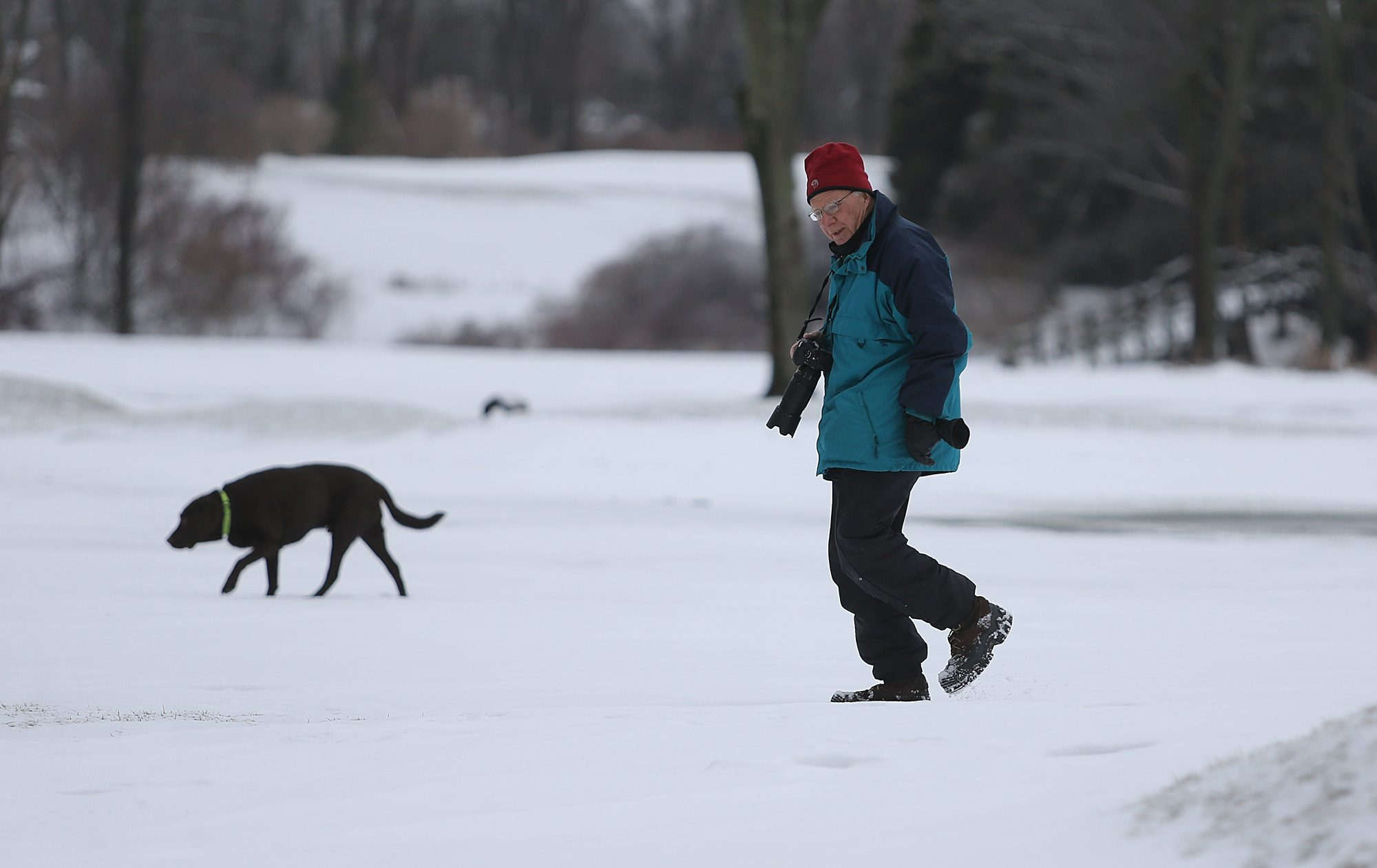 Jeff Belling, of Williamsville, and his dog Garcia go for a walk Sunday on property adjacent to Amherst State Park. Those walking dogs within park boundaries are supposed to have their dogs on a leash.