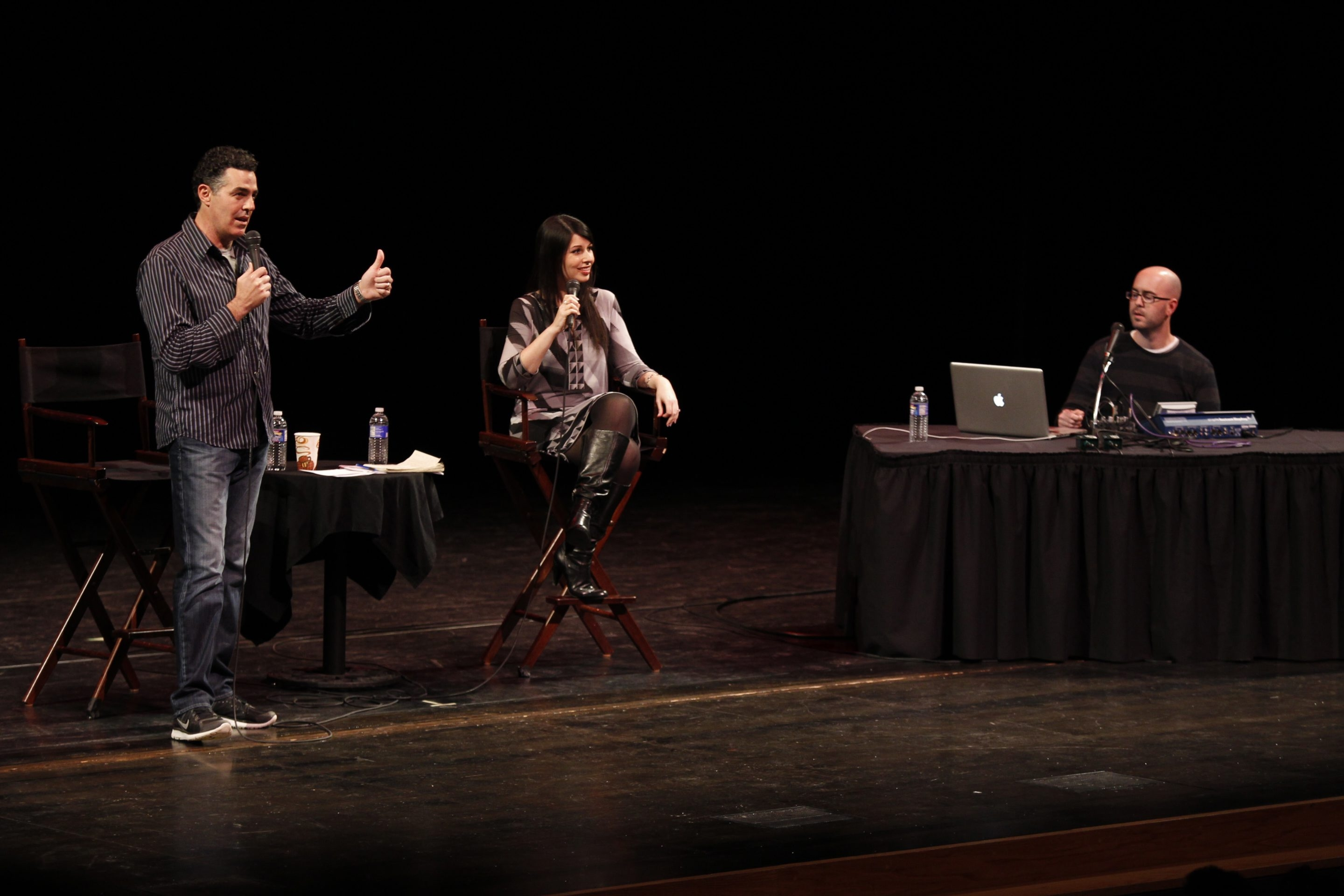 "Adam Carolla performs at the UB Center for the Arts with Alison Rosen and Bald Bryan Bishop on Saturday. The show felt like a stripped-down version of ""A Prairie Home Companion"" performed in a roadside sports bar."