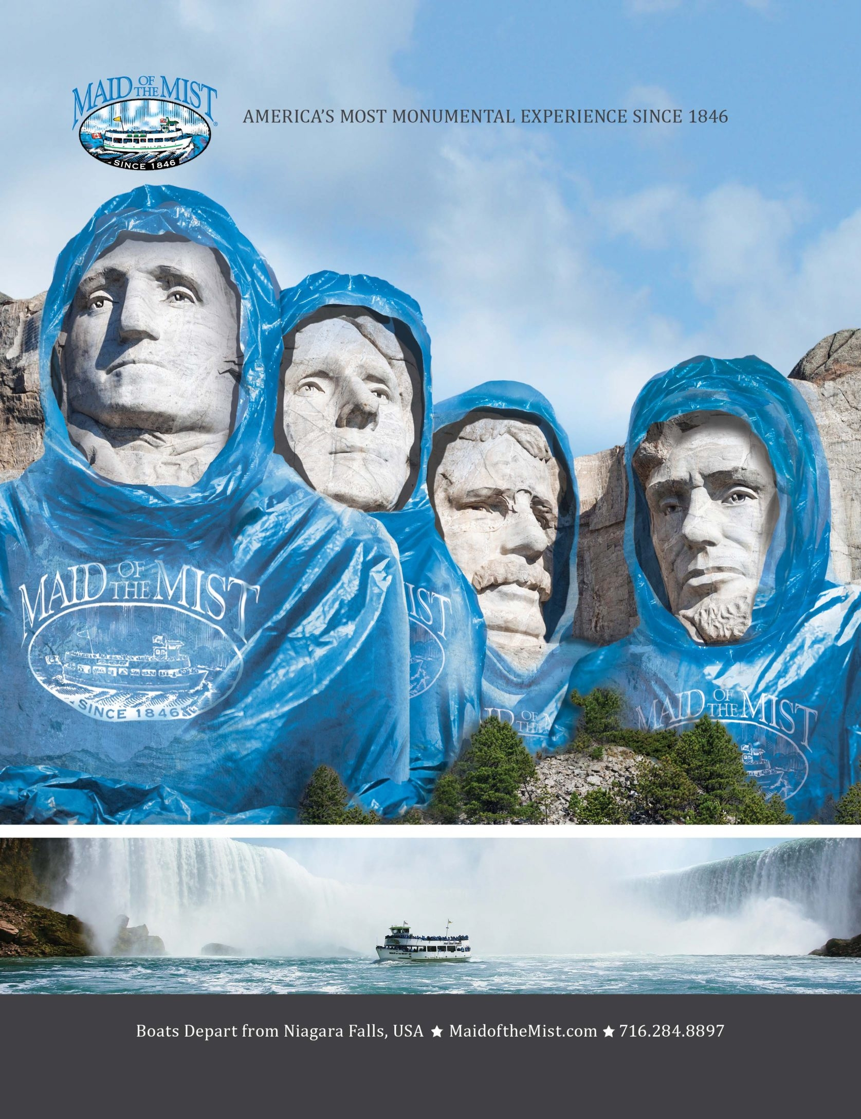 Mount Rushmore, the Statue of Liberty and the Lincoln Memorial in Washington, D.C., are being used in a marketing campaign for the Maid of the Mist Corp. by Eric Mower + Associates.