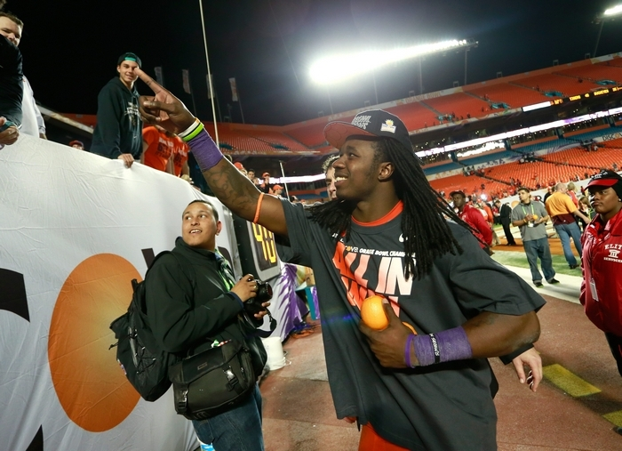 Sammy Watkins celebrates with Clemson fans after his big game in the Orange Bowl. (Getty Images)