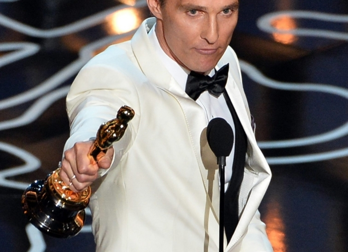 Actor Matthew McConaughey accepts the Best Performance by an Actor in a Leading Role award for 'Dallas Buyers Club' Sunday. (Getty Images)