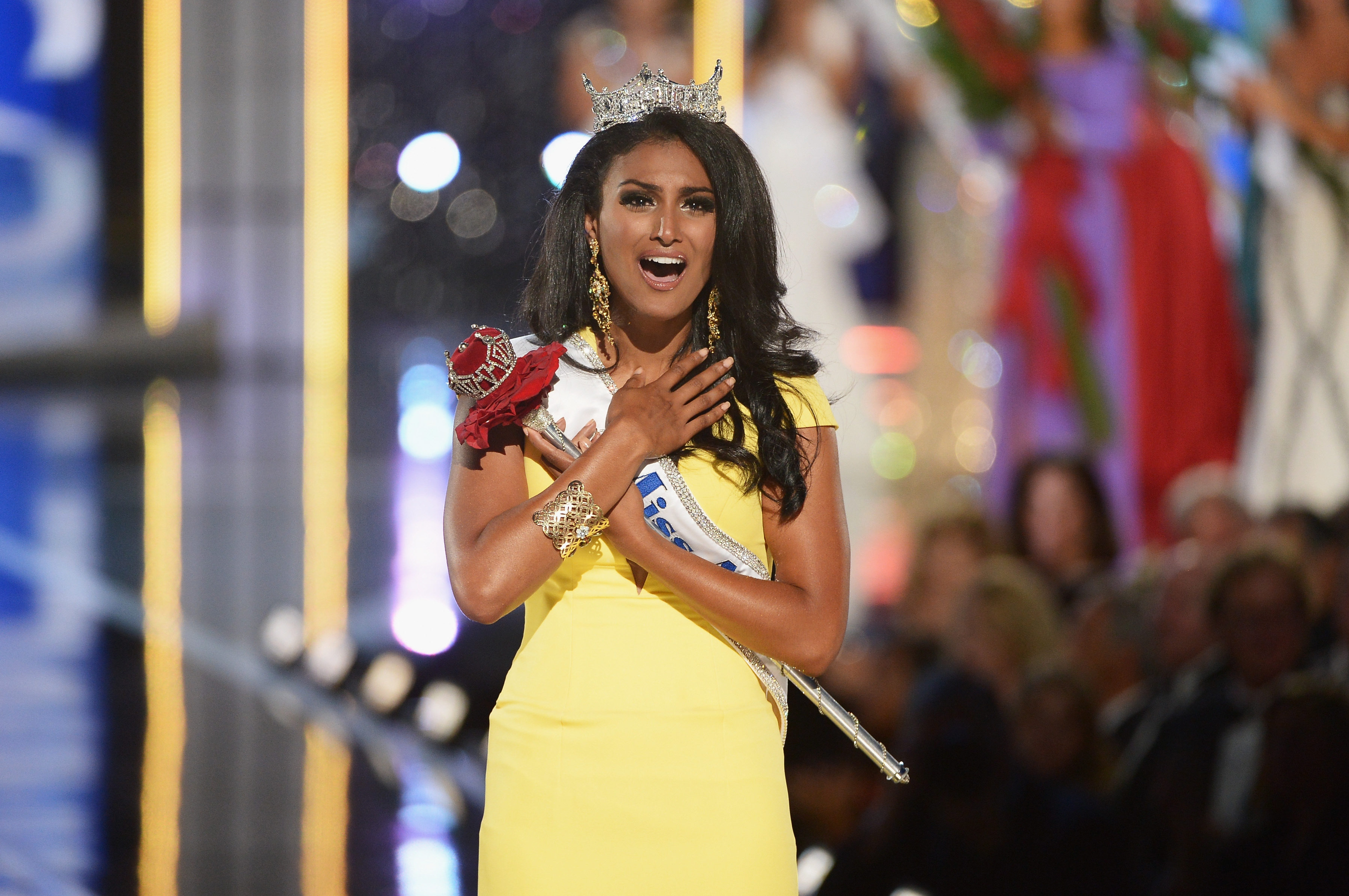 Miss New York Nina Davuluri wins the 2014 Miss America Competition at Boardwalk Hall Arena on September 15, 2013, in Atlantic City, N.J.