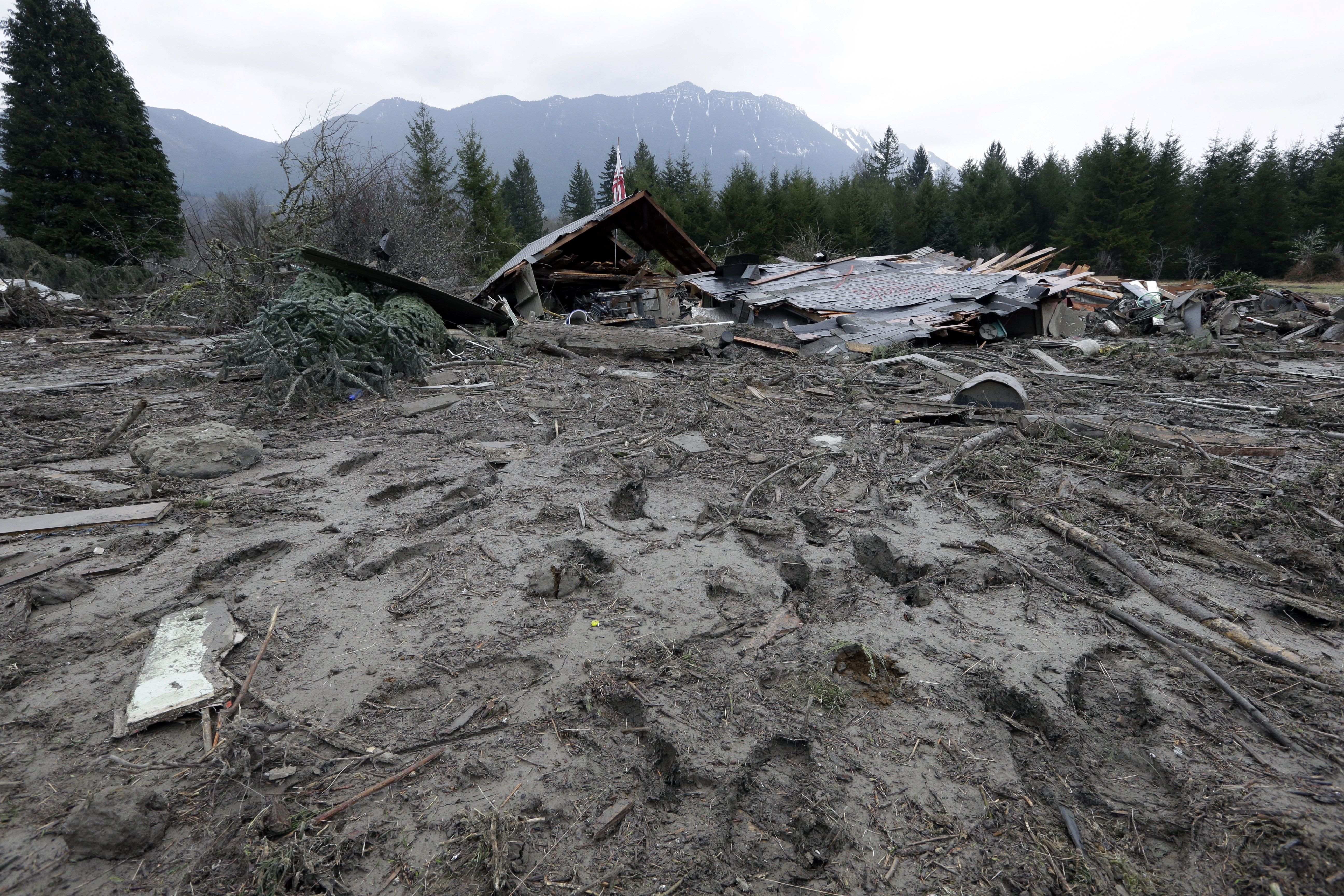Footprints from searchers remain in mud at the edge of a deadly mudslide on March 25 in Oso, Wash.