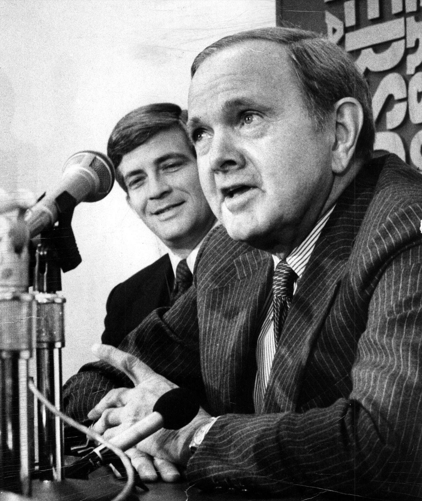 Ralph C. Wilson Jr. introduces Kay Stephenson as his head coach in a February 1983 news conference.