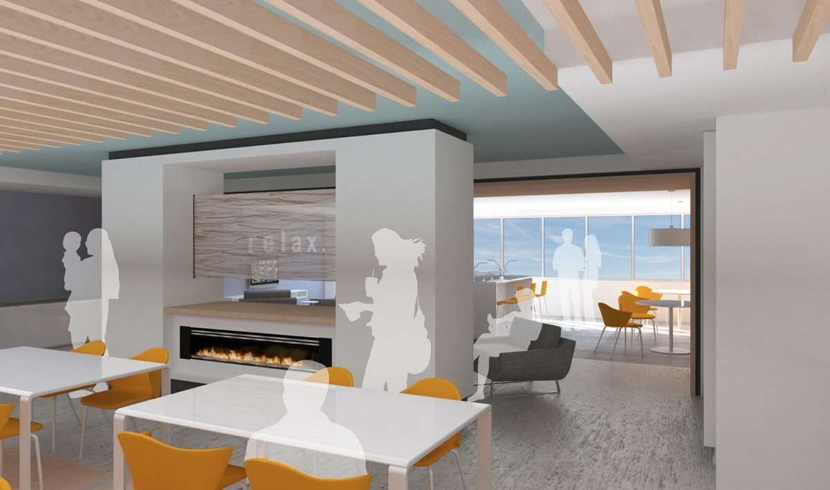 An architect's rendering of the redesigned cafeteria at Niagara Falls Memorial Medical Center, now more of a café/bistro.