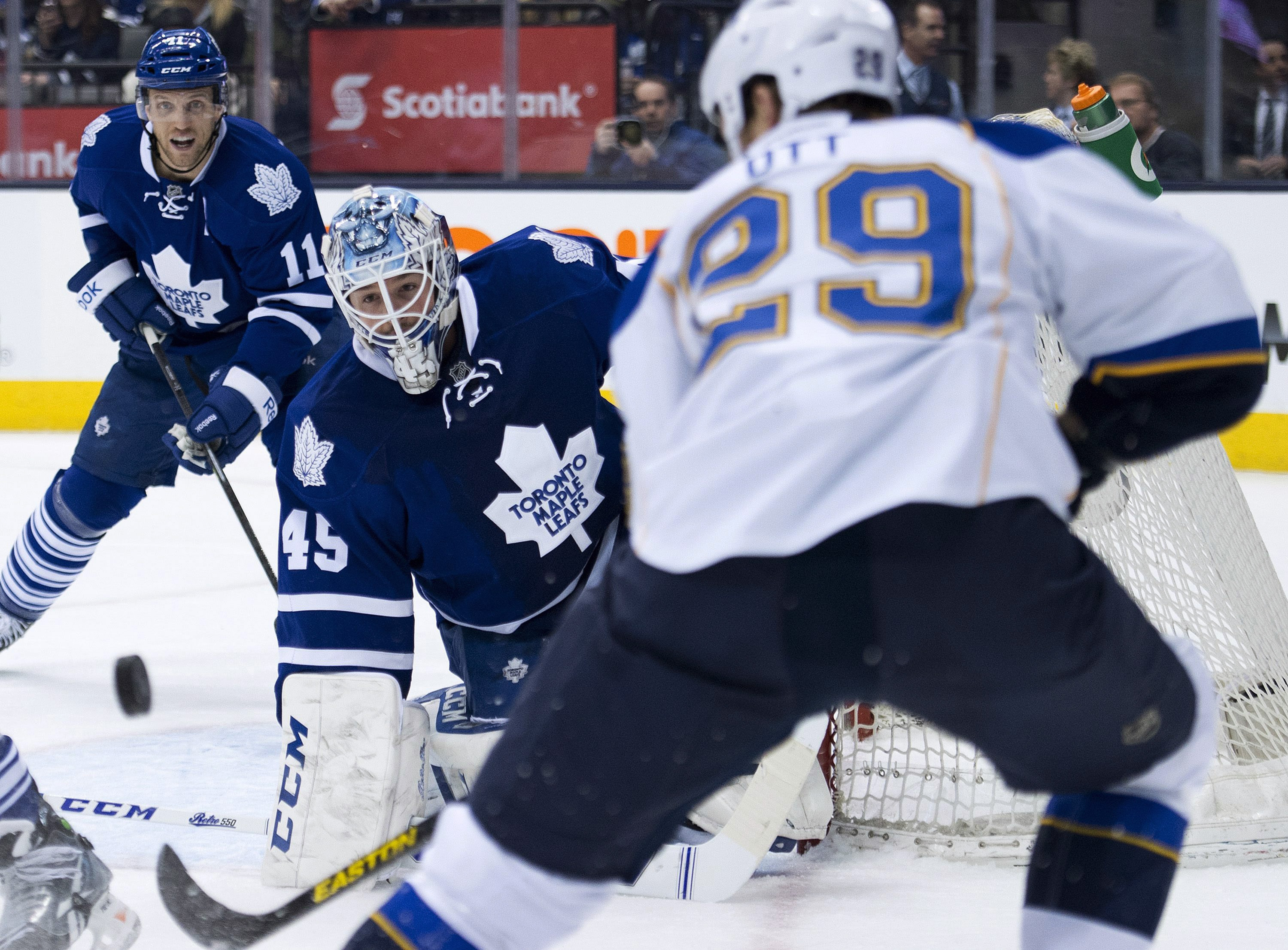Steve Ott (29), who came to the Blues with Ryan Miller in the trade with the Sabres, has noticed the goalie's decreased workload.