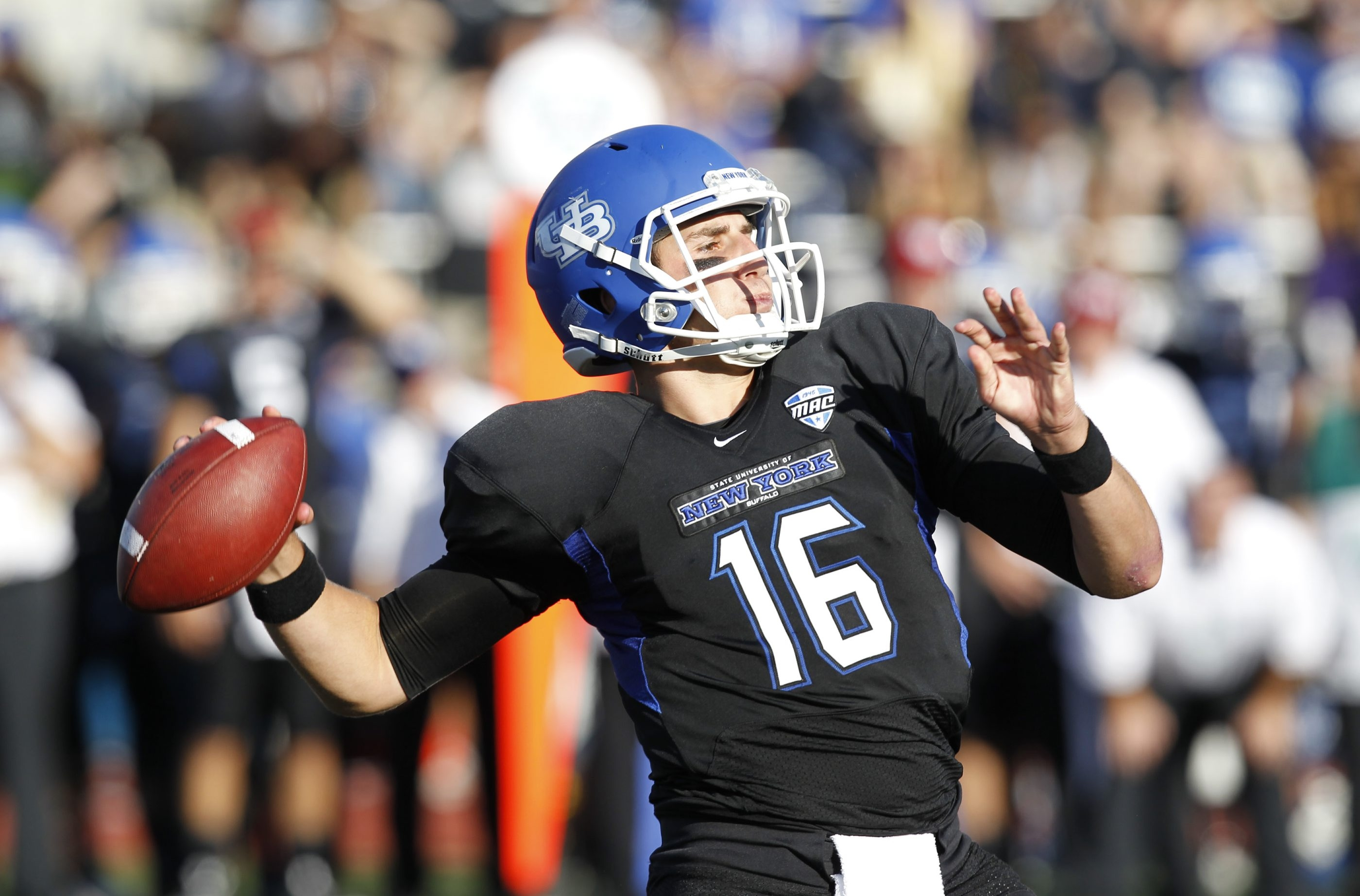 UB is looking to for offensive weapons to go with quarterback Joe Licata (16).