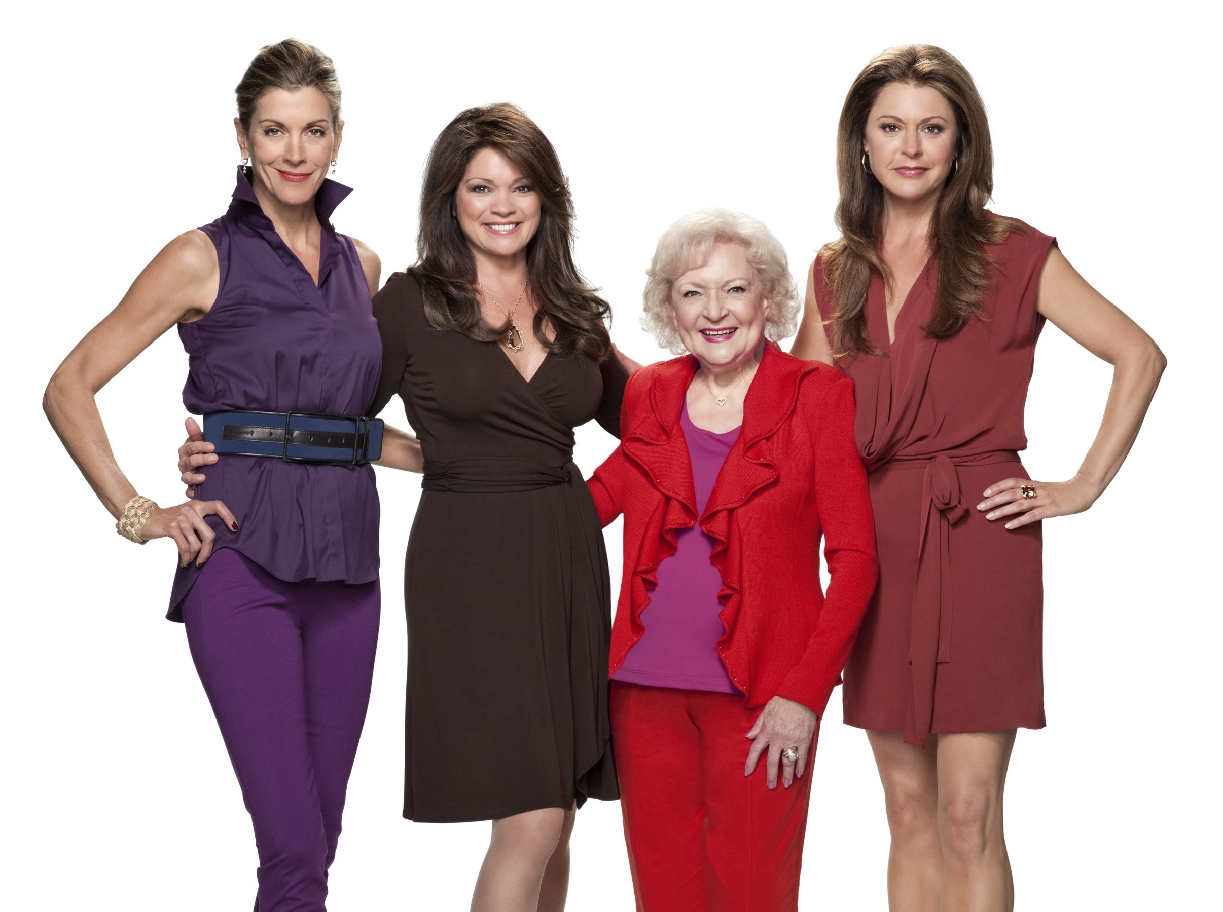 """The """"Hot in Cleveland"""" cast, from left, Wendie Malick, Valerie Bertinelli, Betty White and Jane Leeves."""