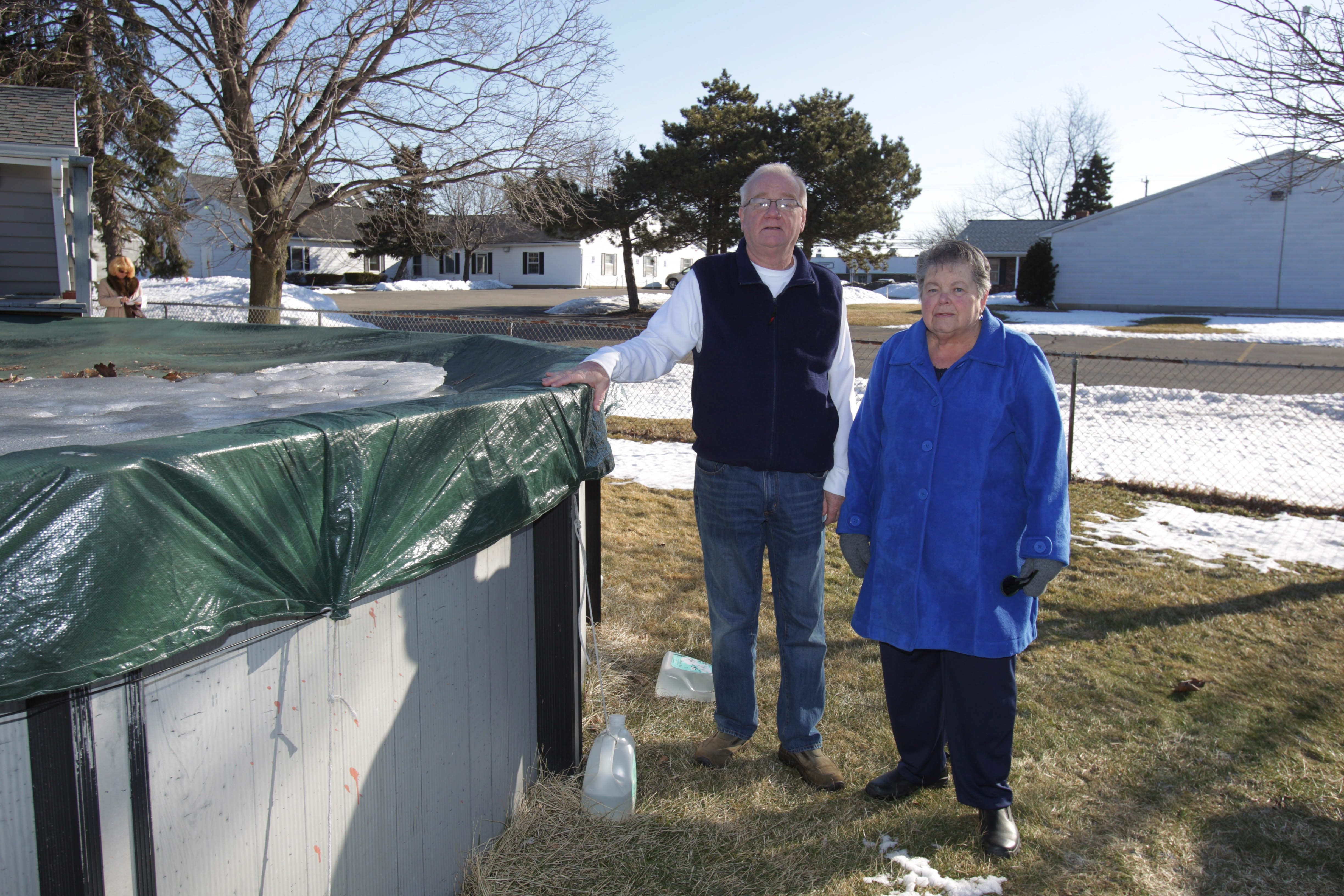John Brueckl and neighbor Peggy Mengay are upset about the senior housing complex proposed for Cayuga Road.