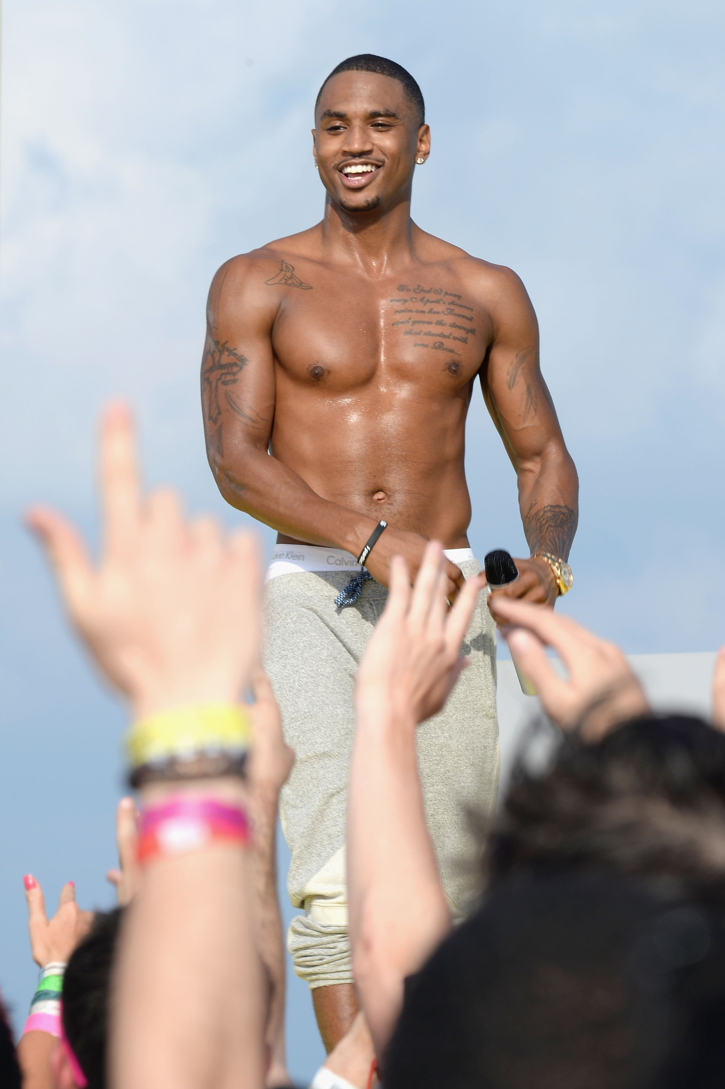 Fun in the sun: Trey Songz tapes a performance at mtvU Spring Break 2014 at the Grand Oasis Hotel in Cancun, Mexico, Friday. The show starts airing Monday.