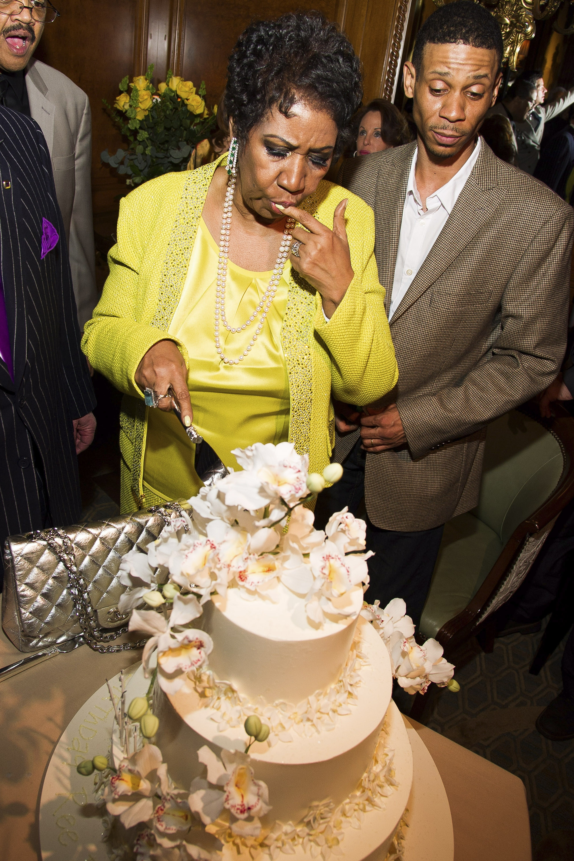 Aretha Franklin, the Queen of Soul,  had her son, Kecalf Cunningham, at her side for her 72nd birthday celebration Saturday in New York.