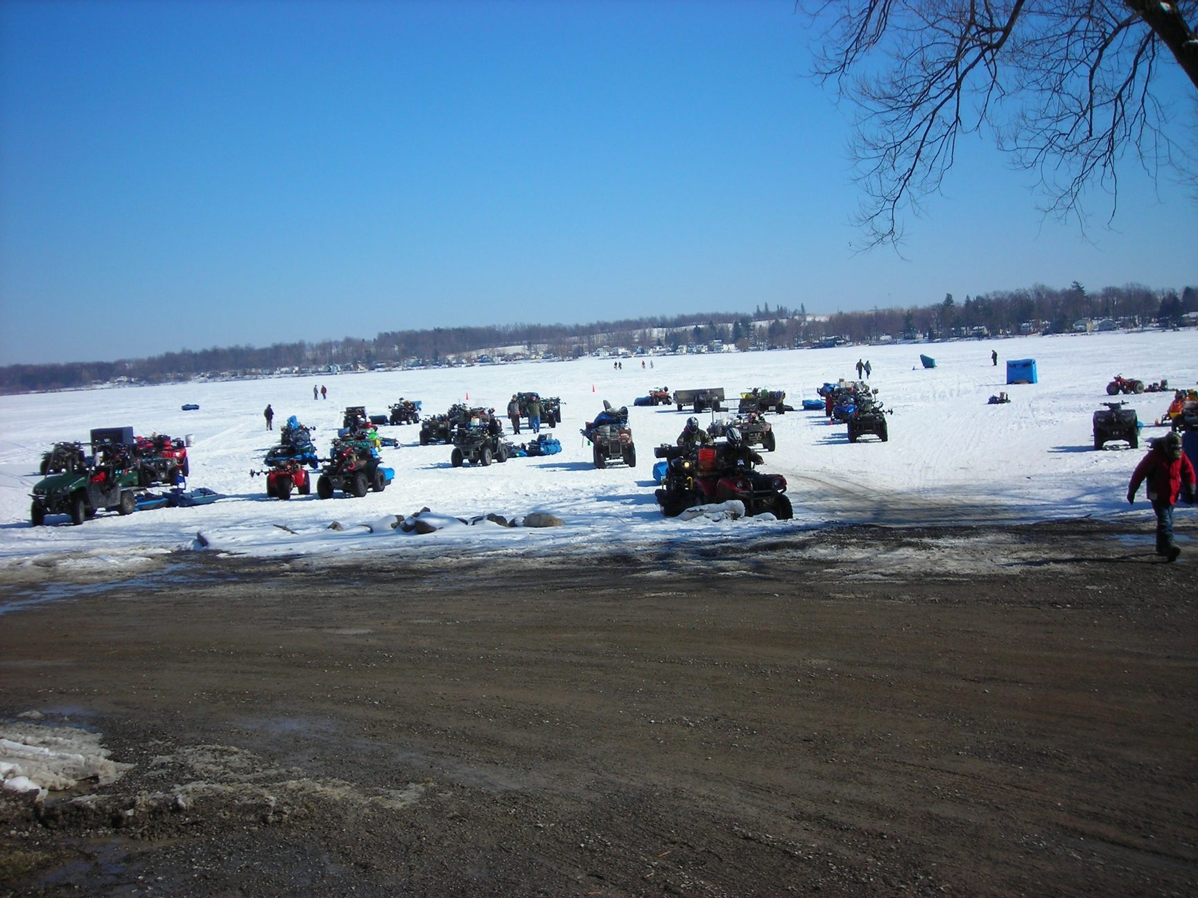 Machine runners and walkers have good late-season access to ice fishing spots such as this state launch at Silver Lake.