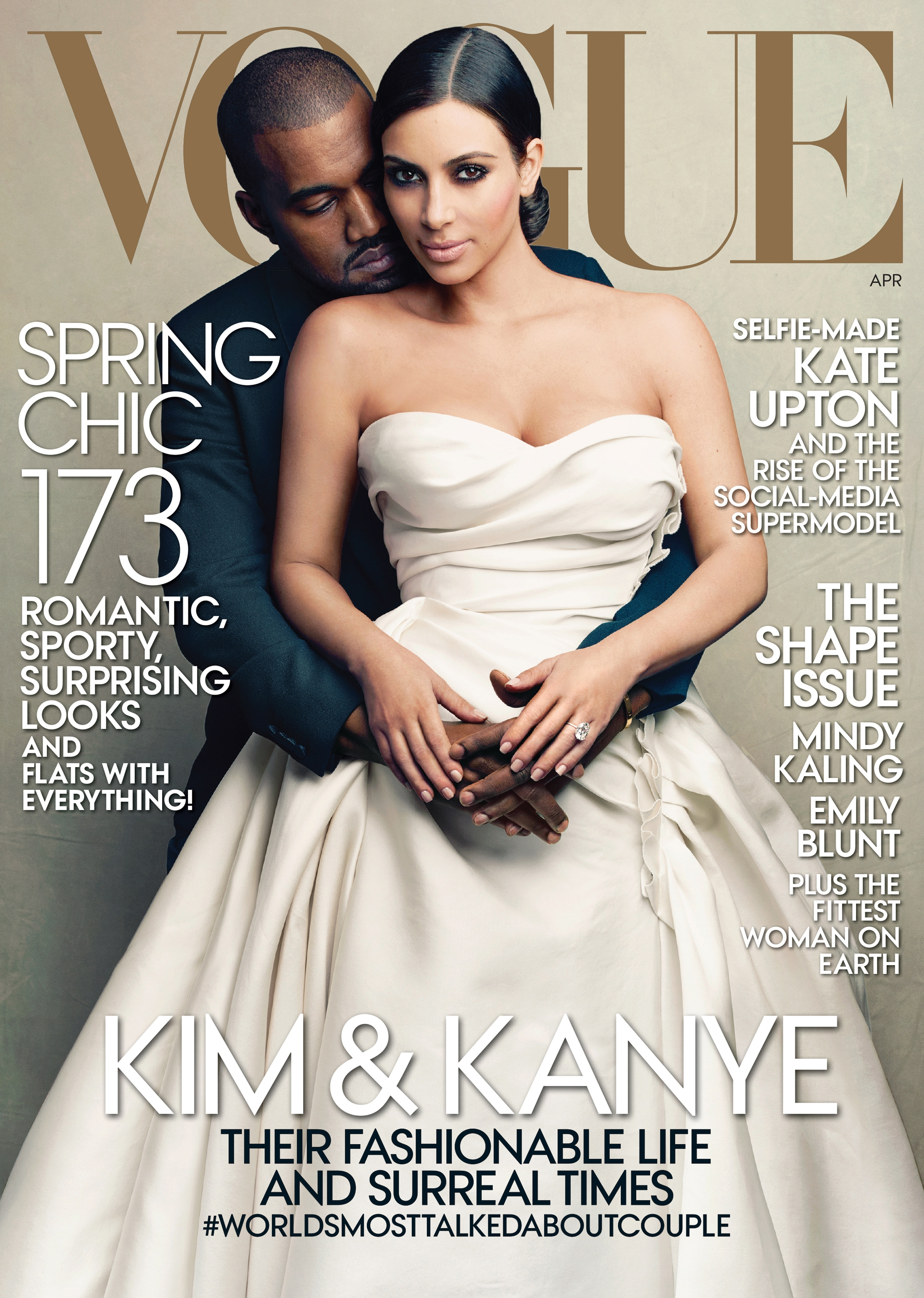 Annie Leibovitz took the cover shot for Vogue's April issue, which features Kanye West and Kim Kardashian.