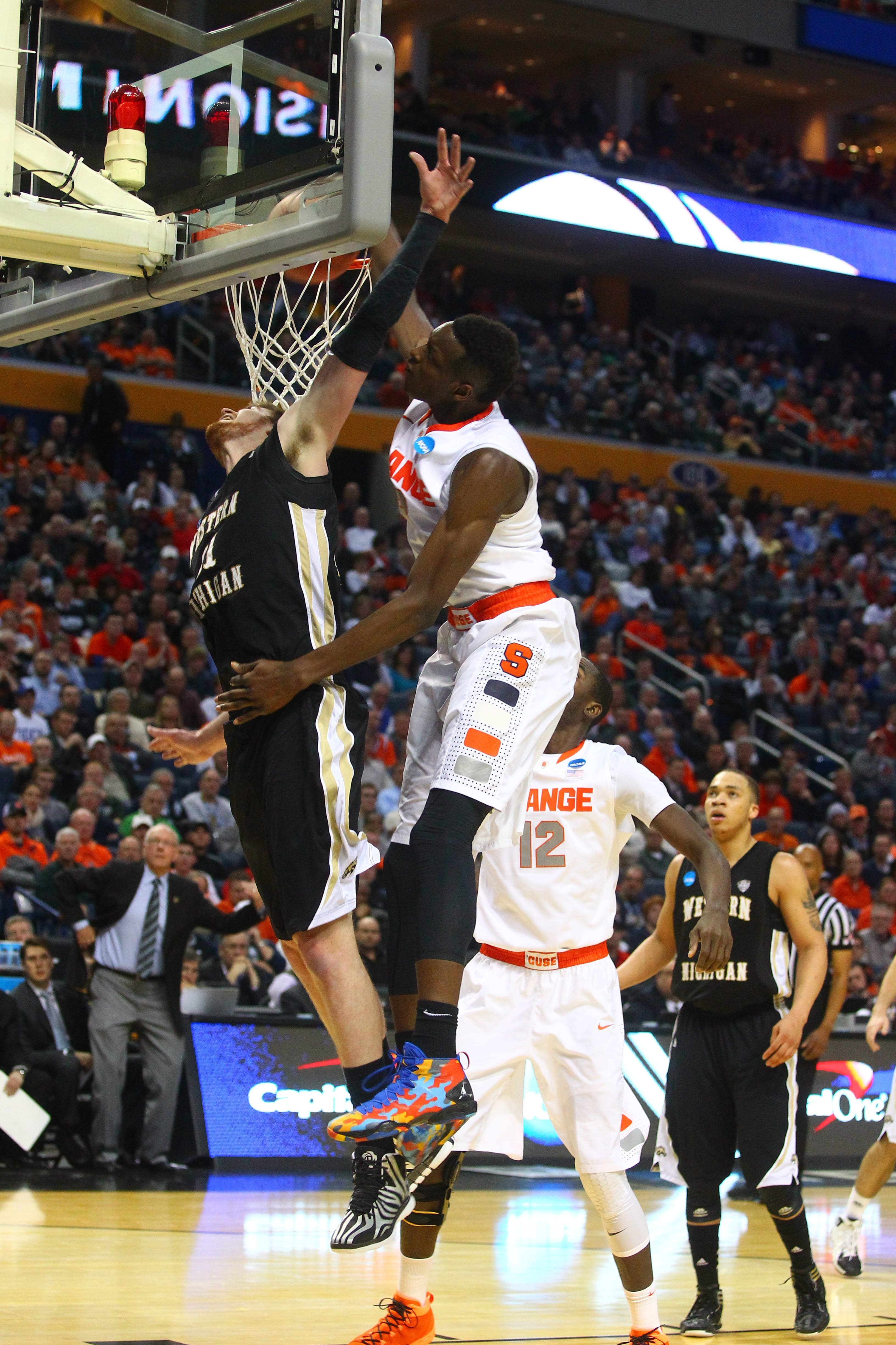 Syracuse sophomore forward Jerami Grant completes one of his four dunks against Western Michigan.