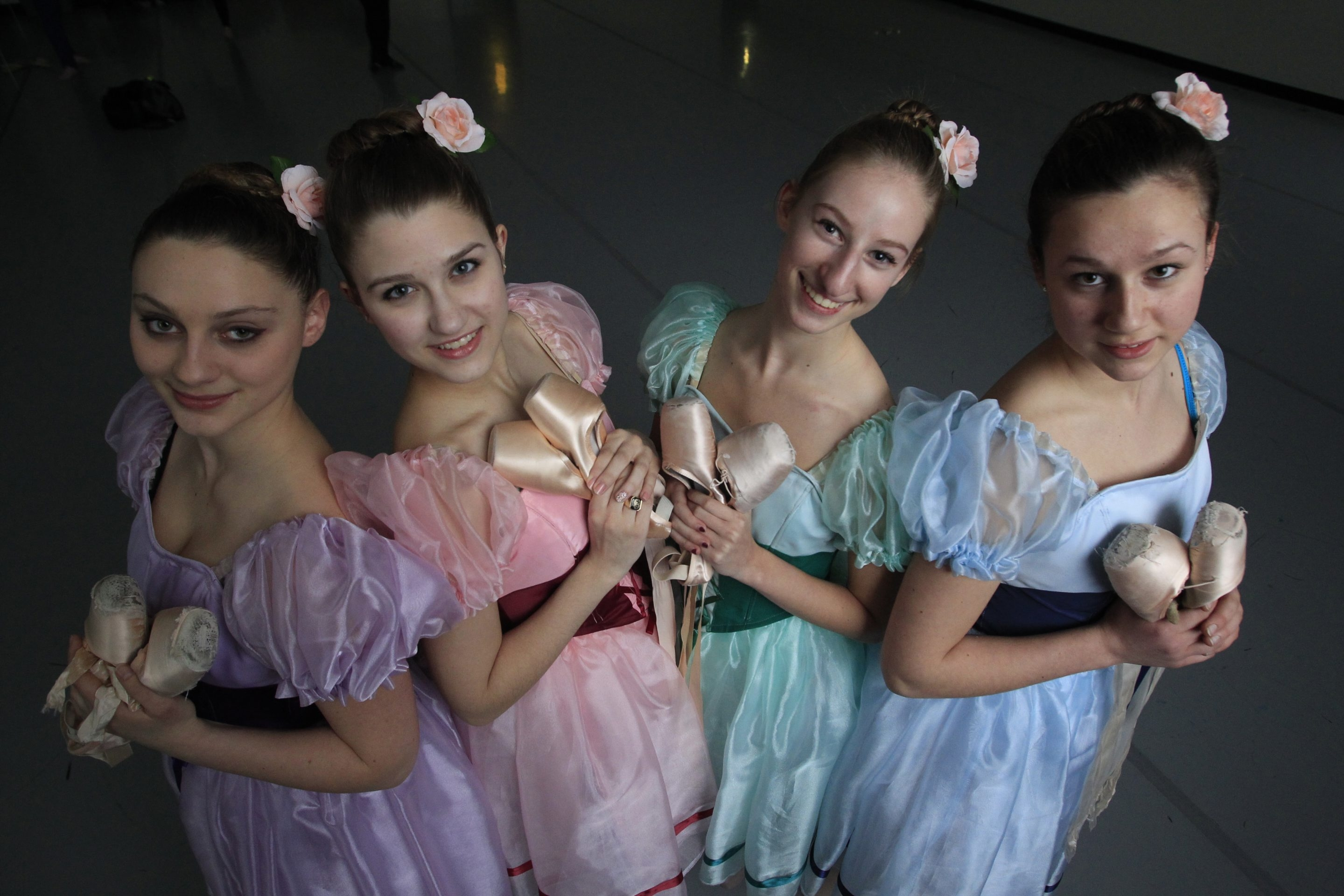 From right to left, Madison Rutherford, Bethany Kellner, Brigette Voisinet and Isabella Baeumler at the Royal Academy of Ballet and Dance.