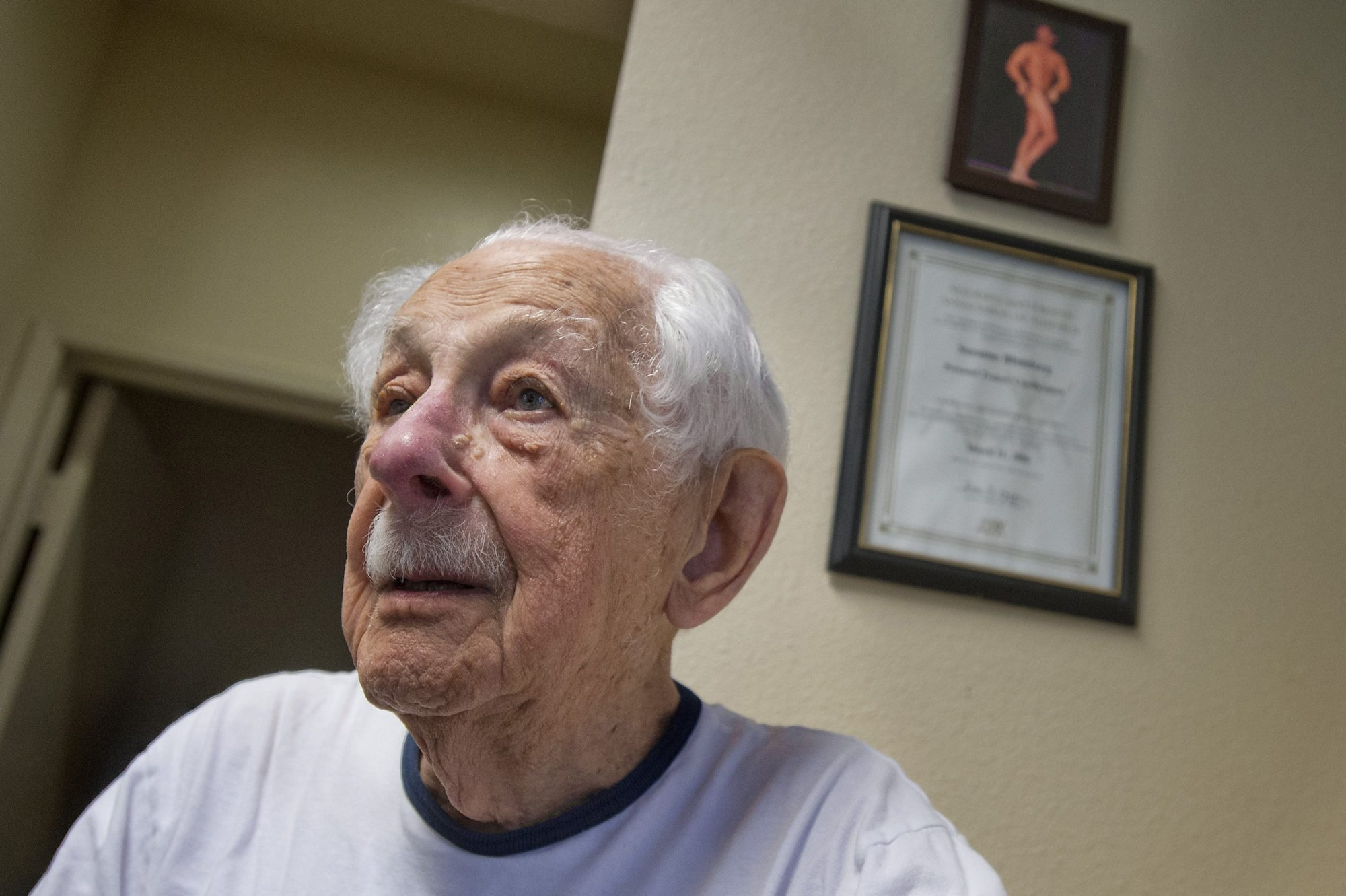 Louis Weintraub, who turned 100 in January, works out at a gym in Sacramento, Calif. Though his eyesight is failing, Weintraub is still leads an active life.