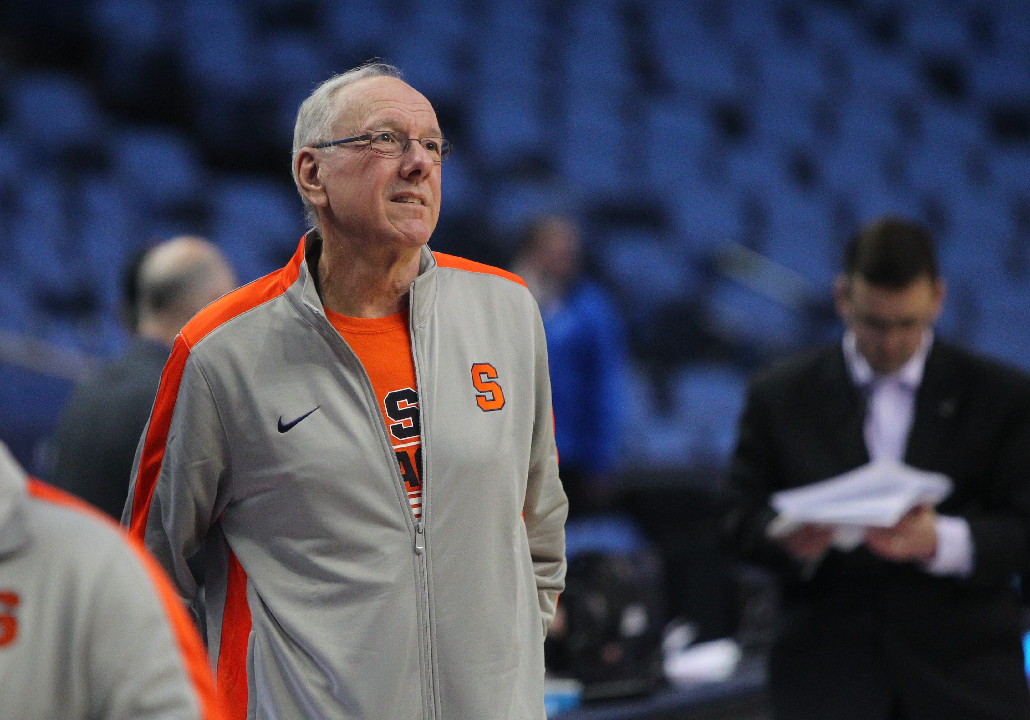 Syracuse coach Jim Boeheim during press conference before practice at the First Niagara Center in Buffalo Wednesday, March 19, 2014.    (Mark Mulville/Buffalo News)