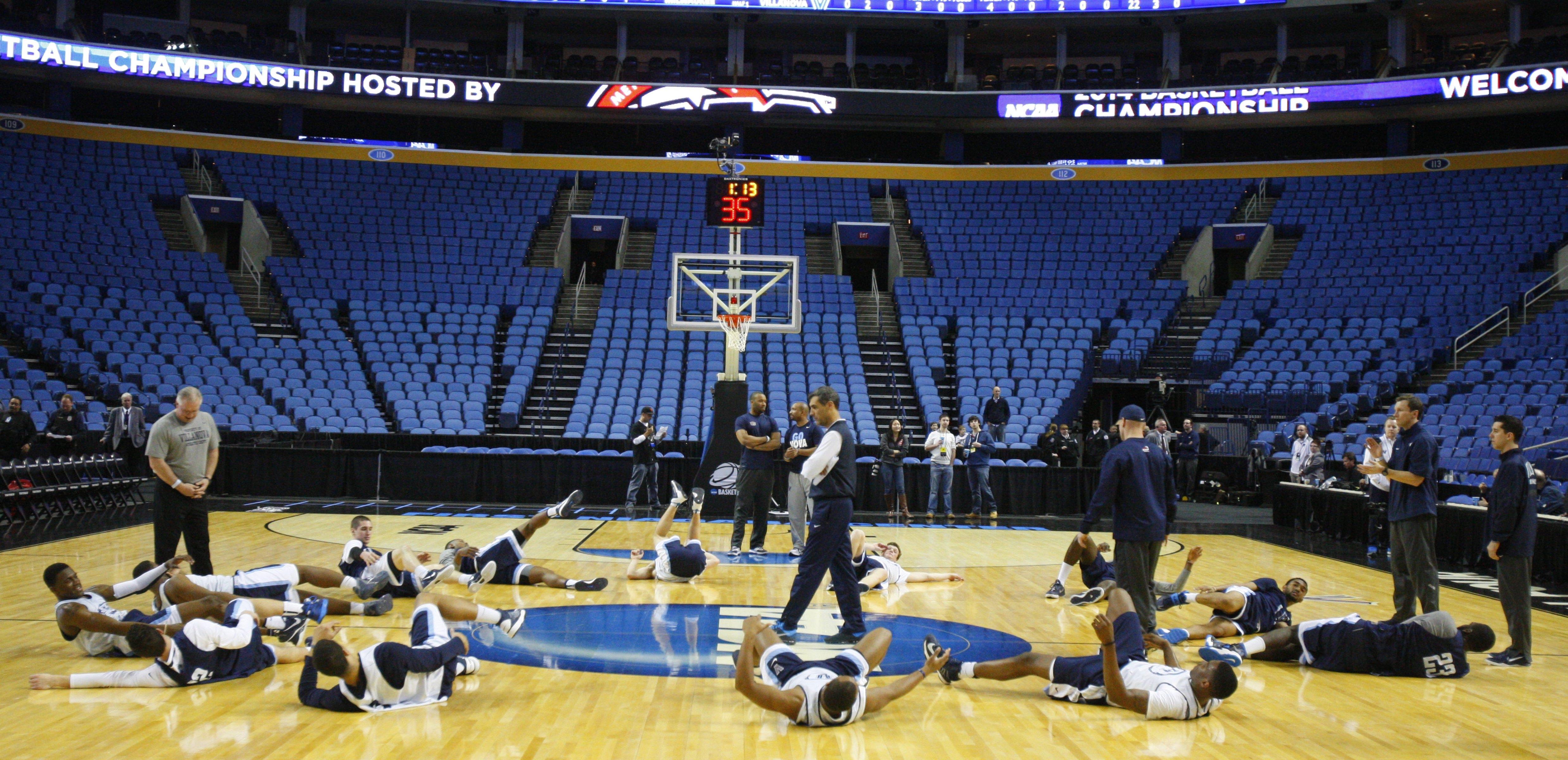 Villanova players go through stretching exercises during a shootaround Wednesday night at First Niagara Center.