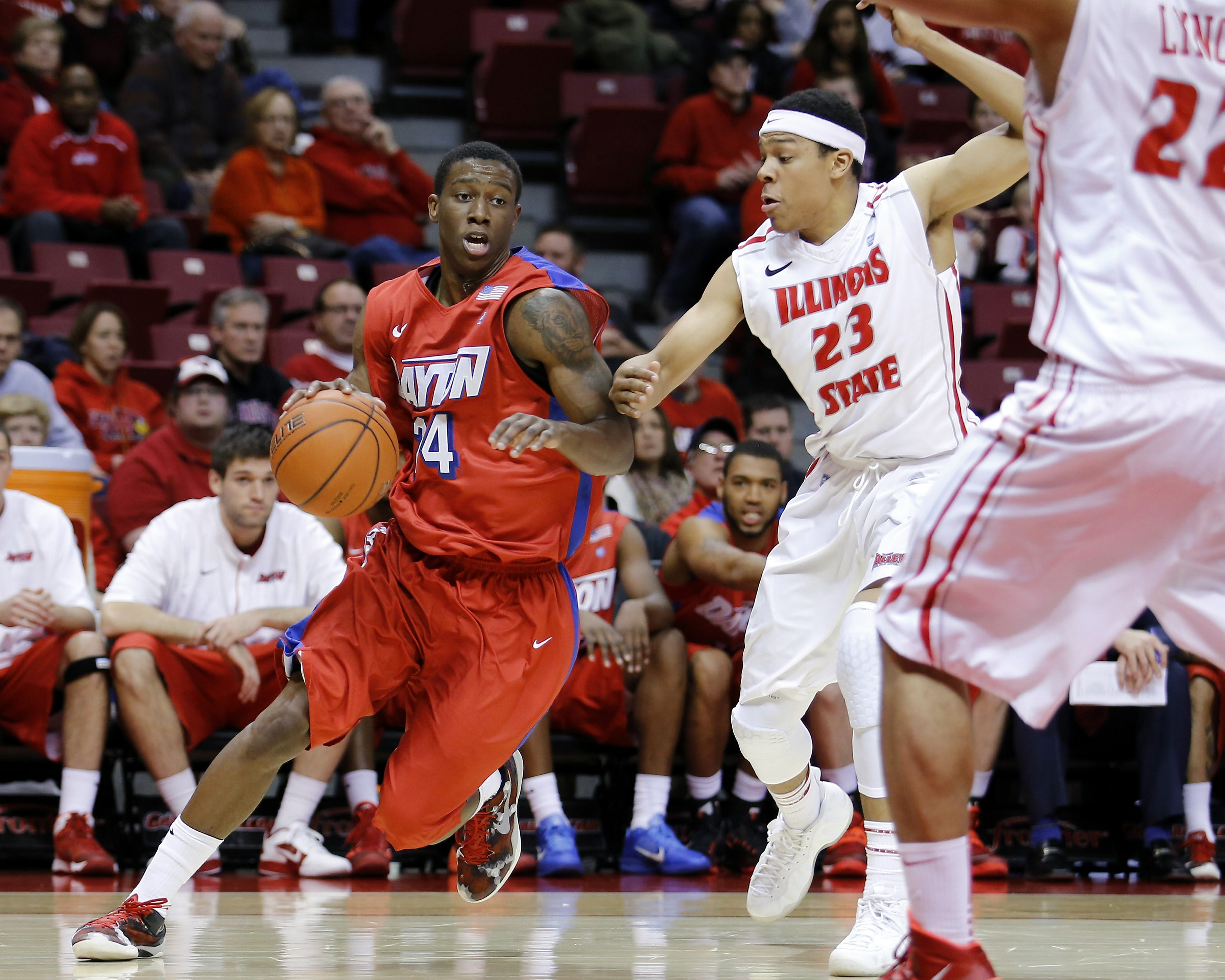 Dayton guard Jordan Sibert, driving to the basket against Illinois State, started his collegiate career at Ohio State.
