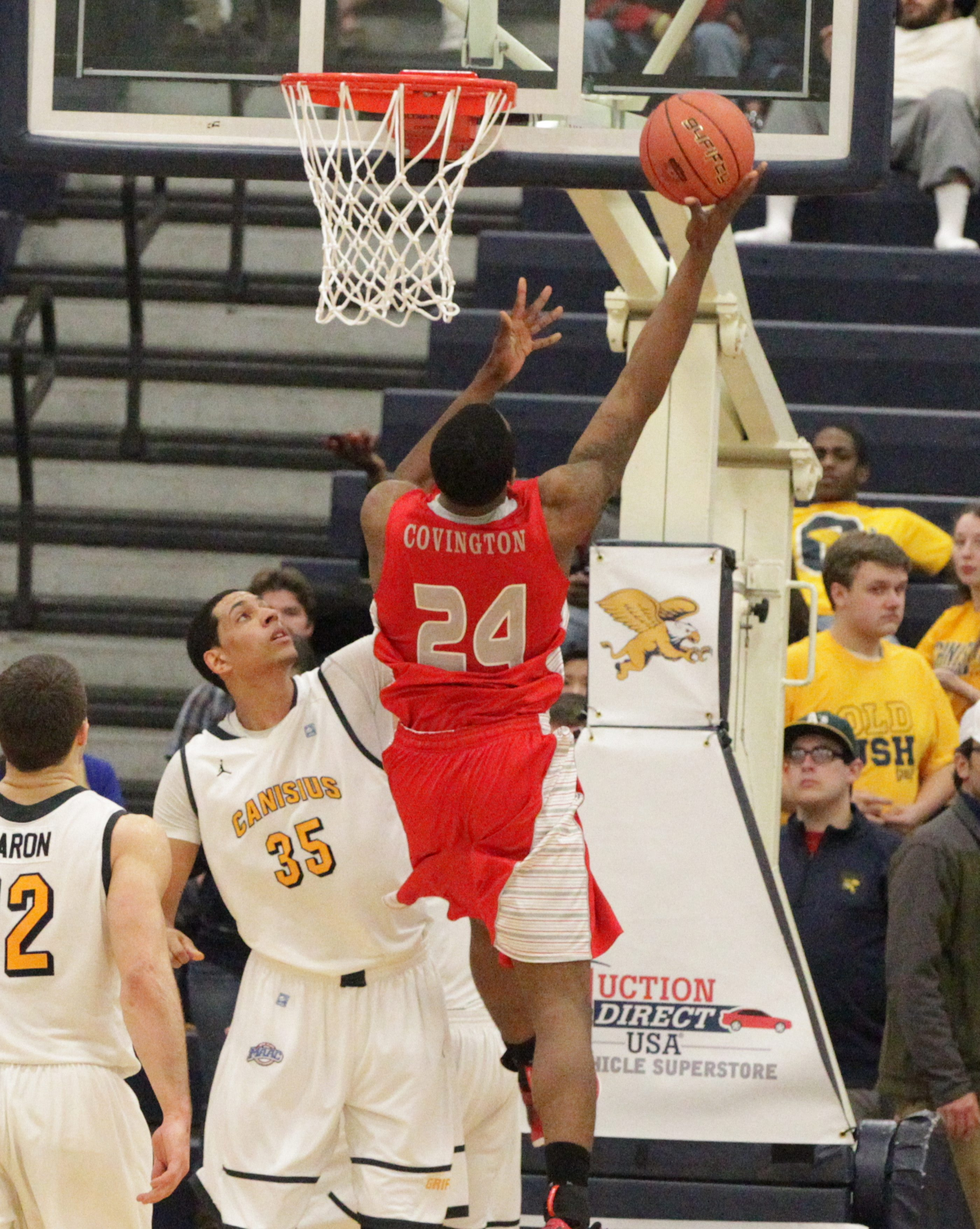 VMI's D.J. Covington goes up for two of his game-high 37 points against Canisius Tuesday during the CIT tournament game at the Koessler Athletic Center. VMI won 111-100.