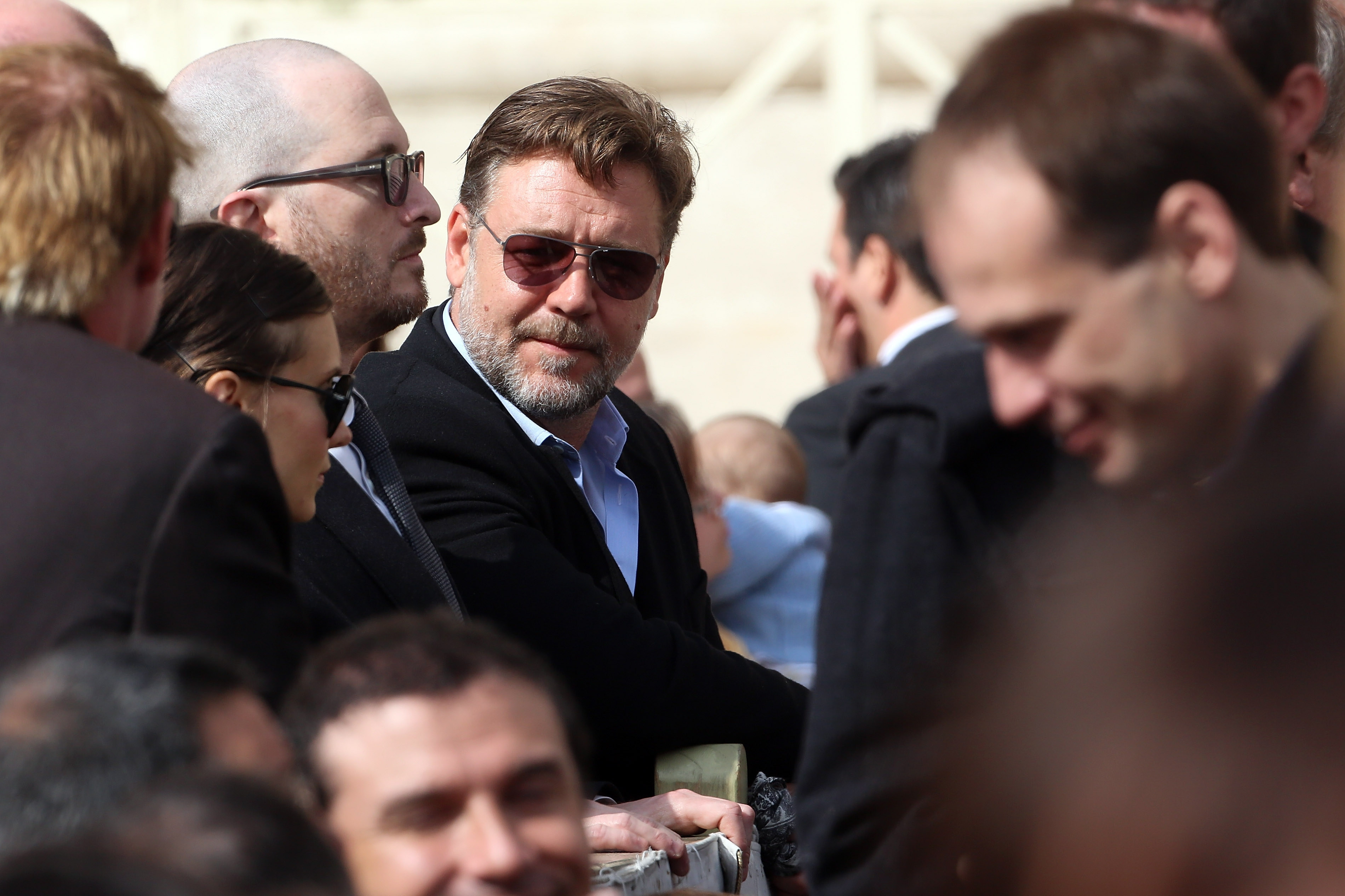 Actor Russell Crowe attends Pope Francis' weekly audience in St. Peter's Square in Vatican City on Wednesday.