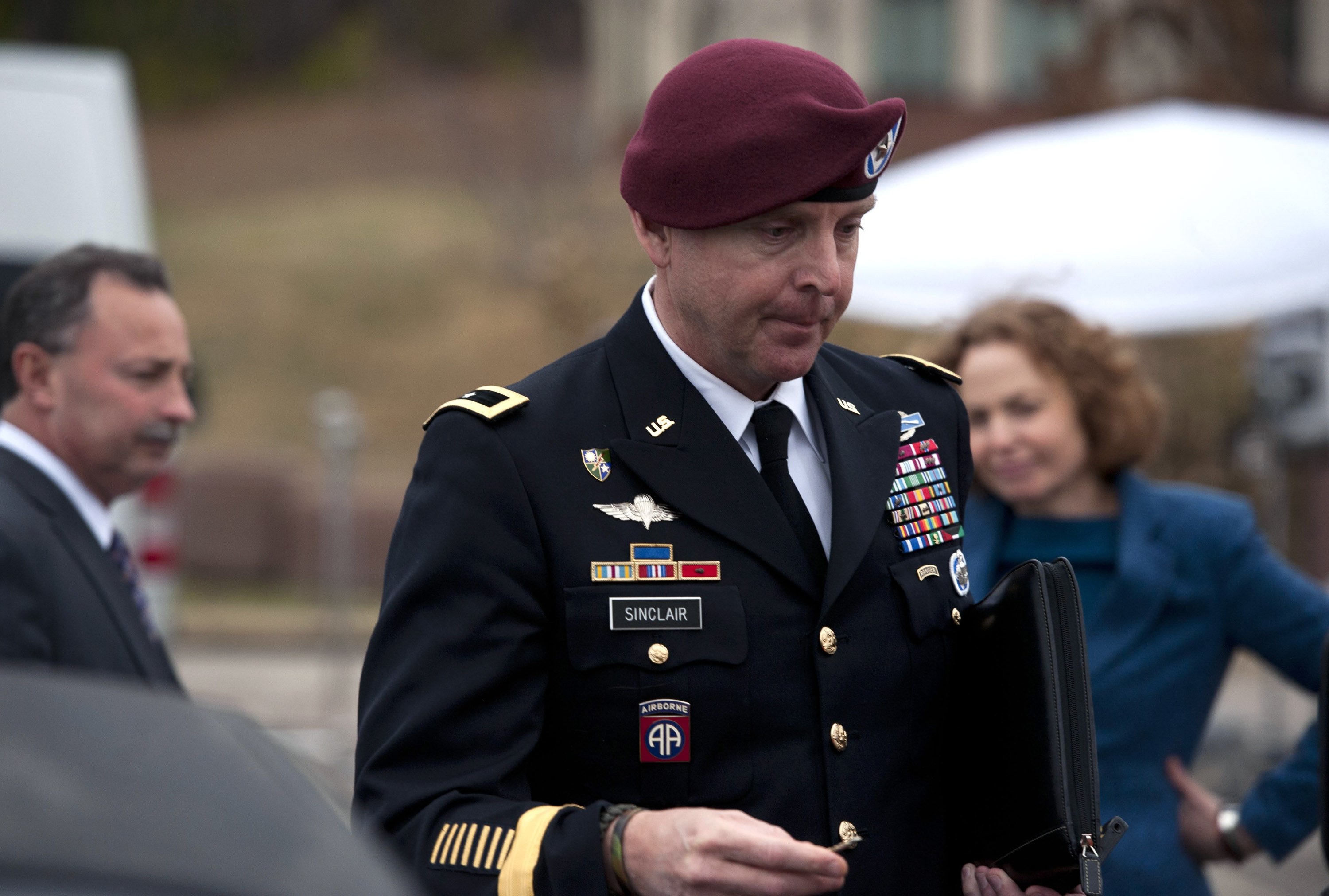 Brig. Gen. Jeffrey Sinclair leaves the Fort Bragg, N.C., Courthouse on Monday after sexual assault charges against him were dropped when he pleaded guilty to lesser charges.