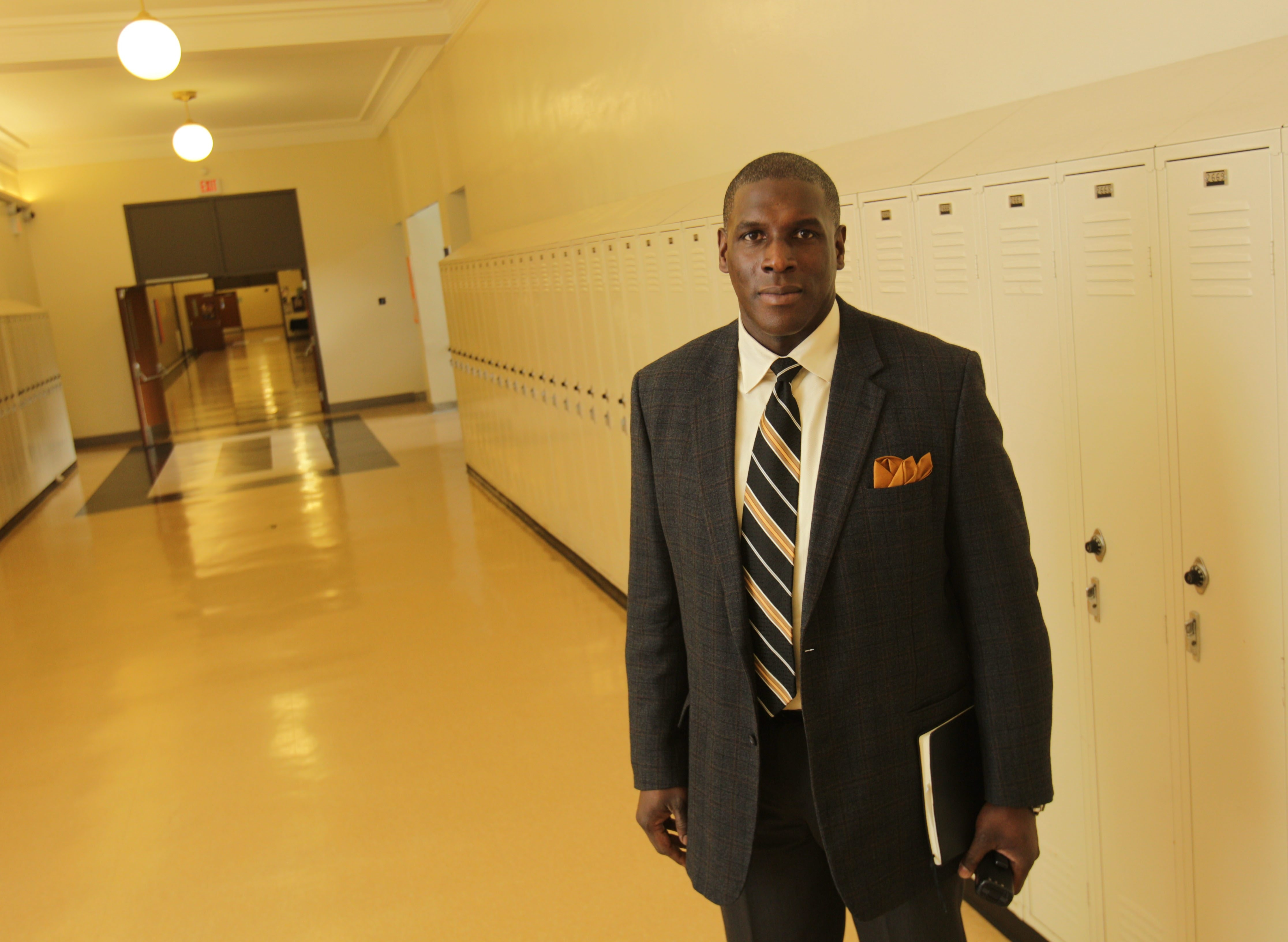 Terry Ross, Bennett High's Principal since September gives a tour of the school, Monday, Feb. 3, 2014. He's been the target of recent teacher surveys (Sharon Cantillon/Buffalo News)