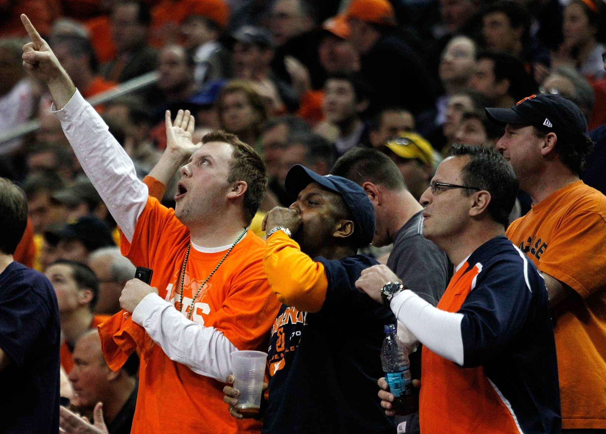 Syracuse fans react after a three-pointer against Gonzaga during the 2010 NCAA men's basketball tournament at HSBC Arena.