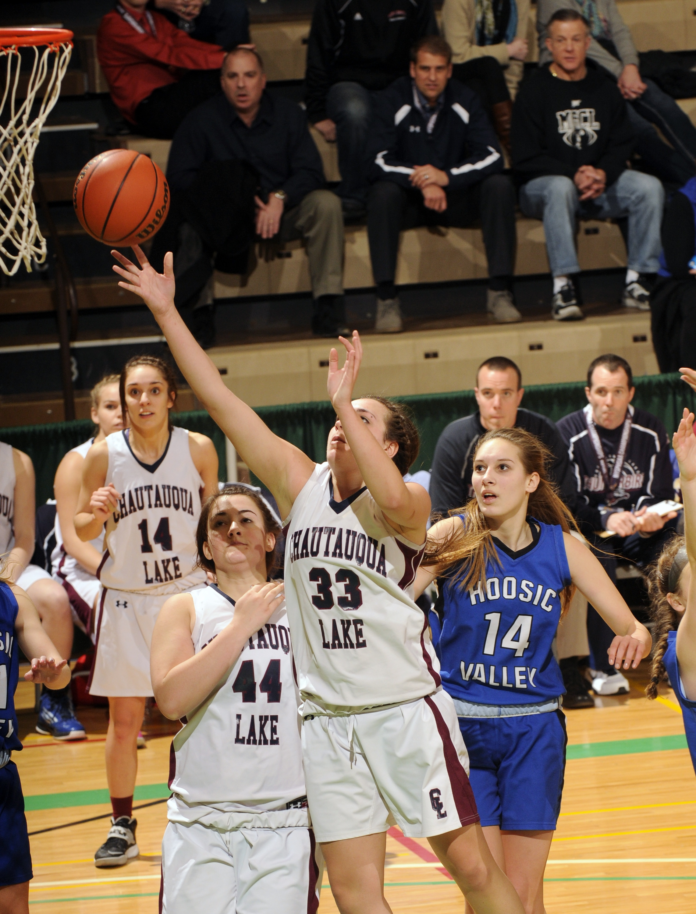 Chautauqua Lake's Jenna Einink puts up two of her 13 points, to go with 14 rebounds, in the Thunderbirds' win over Hoosic Valley.