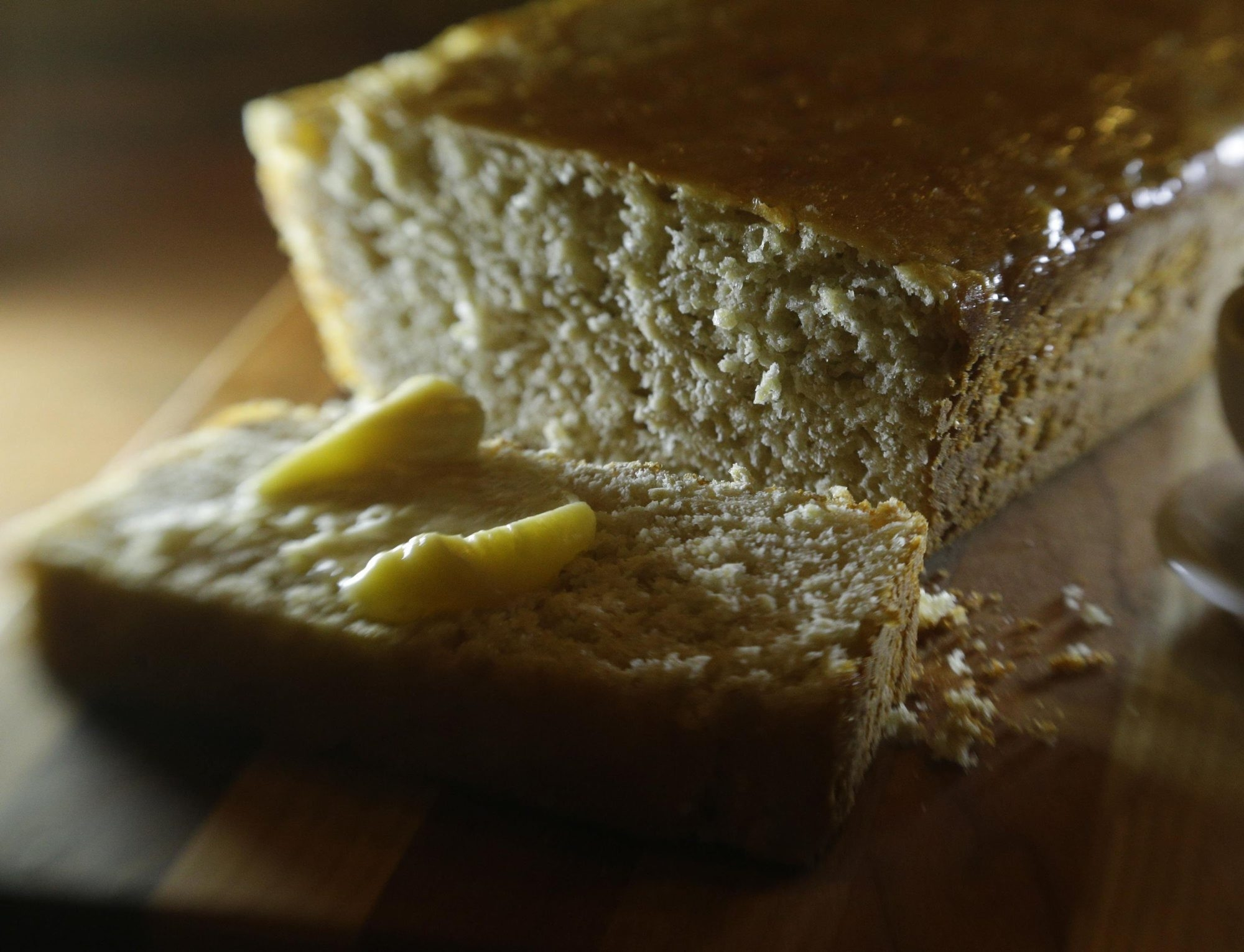 Oatmeal batter bread with honey butter and herb butter is a wonderful tonic for winter weather.
